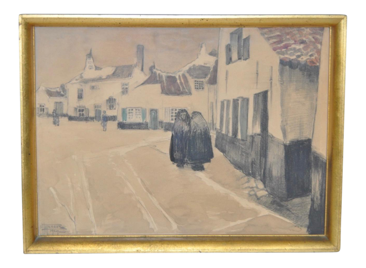 Vintage European Village Painting Circa 1929 Chairish