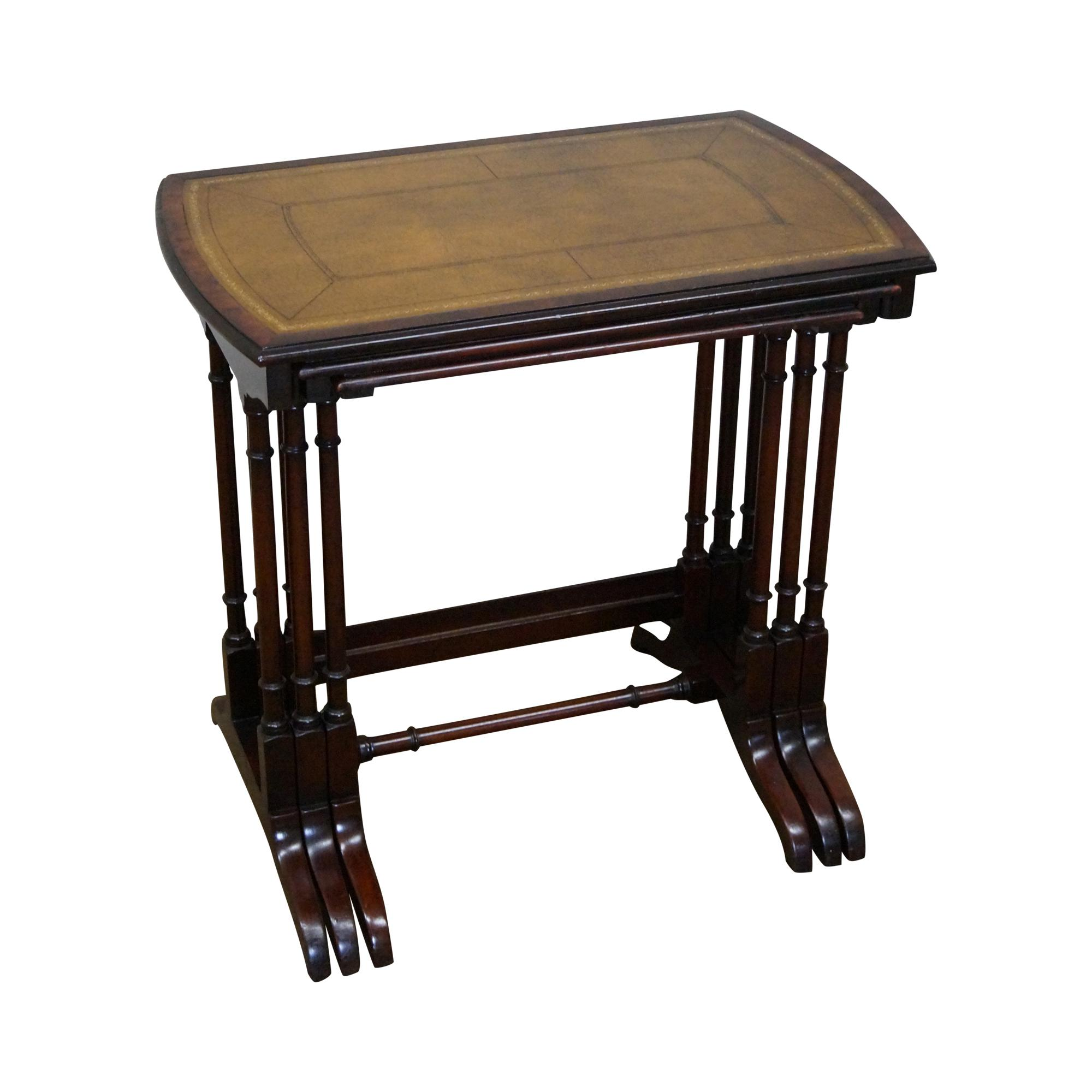 Leather Nesting Tables ~ Heritage vintage nesting mahogany leather top tables set