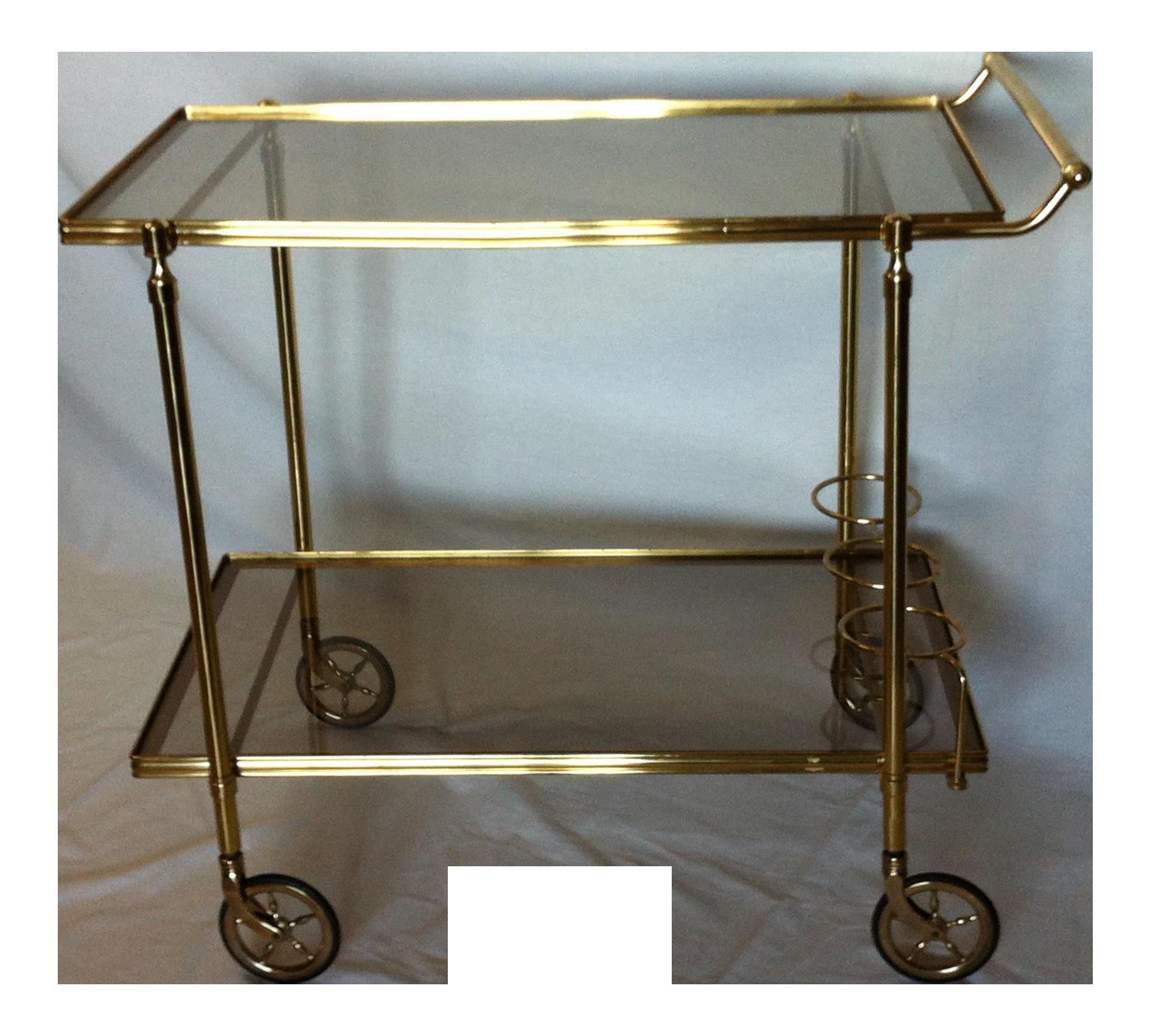 maison baques italian brass bar cart chairish. Black Bedroom Furniture Sets. Home Design Ideas