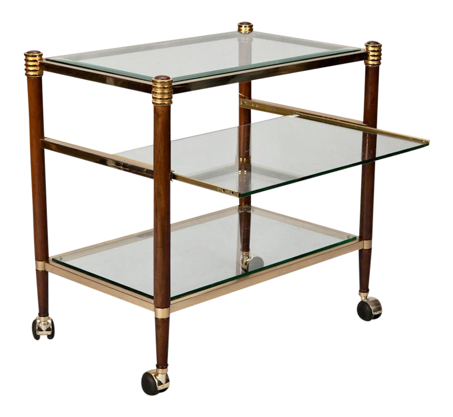 Mid Century Italian Brass Glass And Polished Wood Trolley