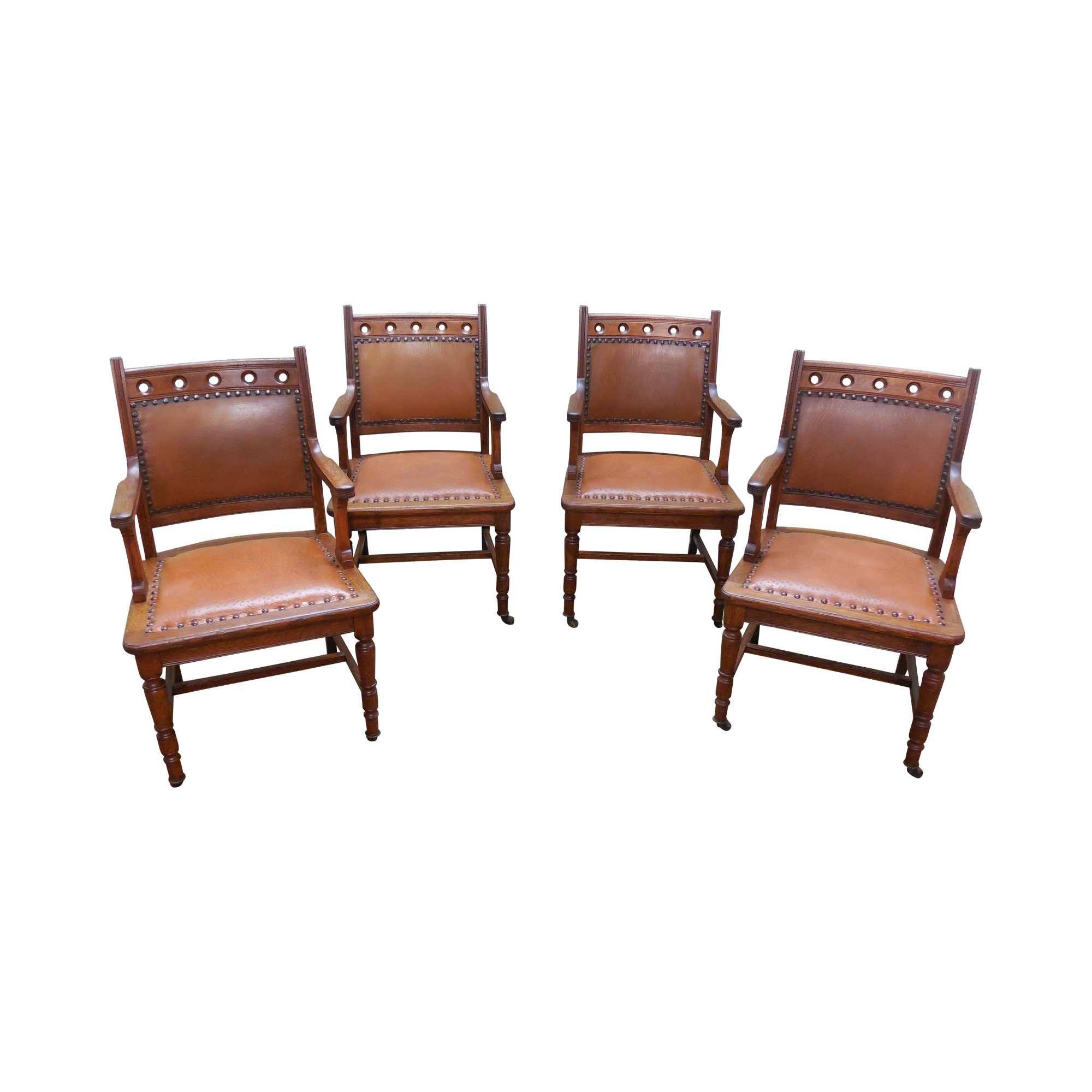 Antique victorian dining chairs - Image Of Antique Victorian Oak Dining Chairs Set Of 4
