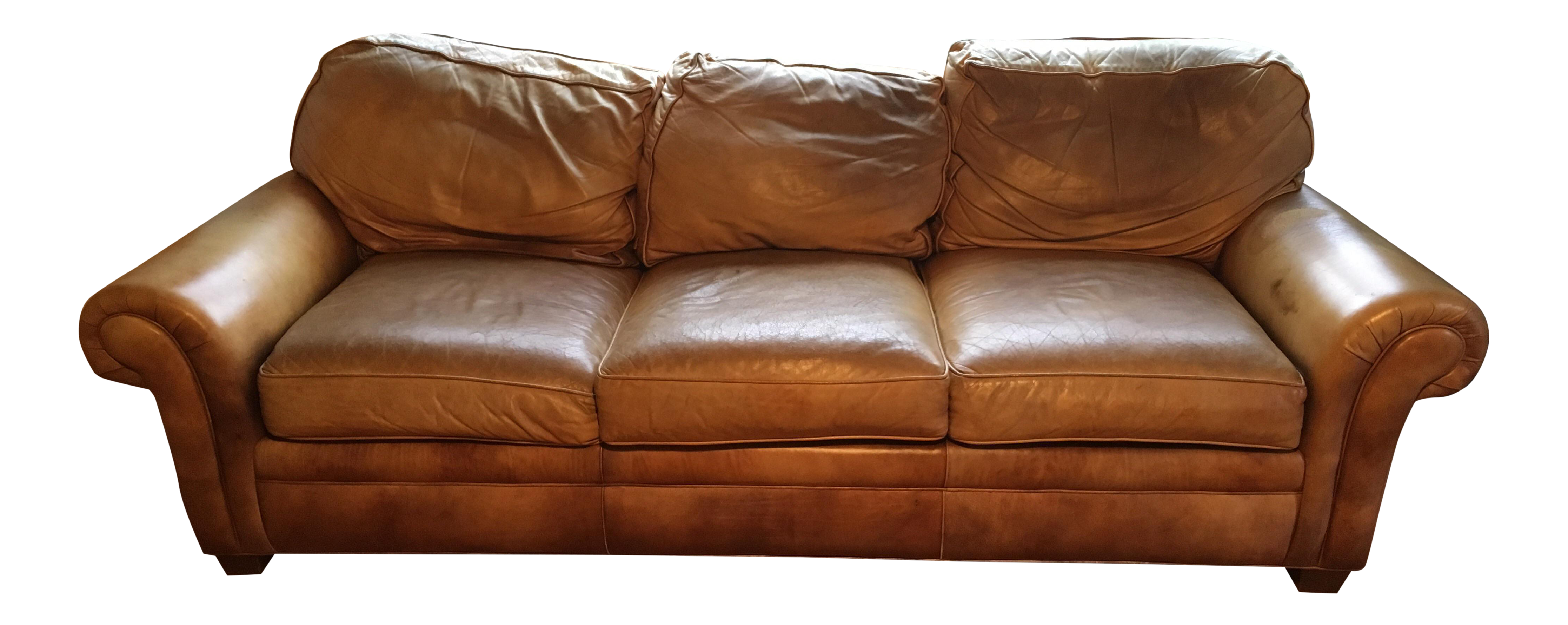 Hancock Moore Whiskey Brown Leather City Sofa Chairish