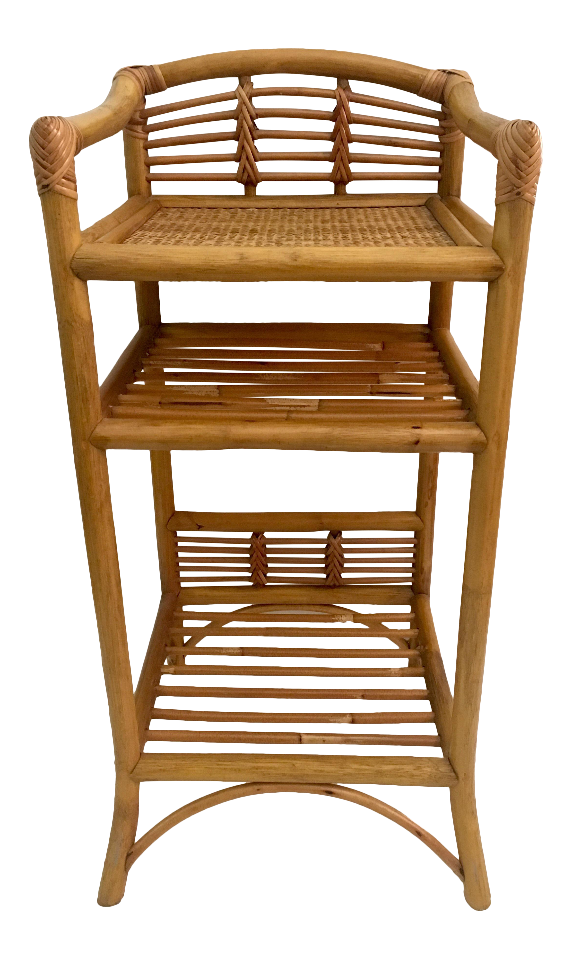 vintage rattan bamboo etagere chairish. Black Bedroom Furniture Sets. Home Design Ideas