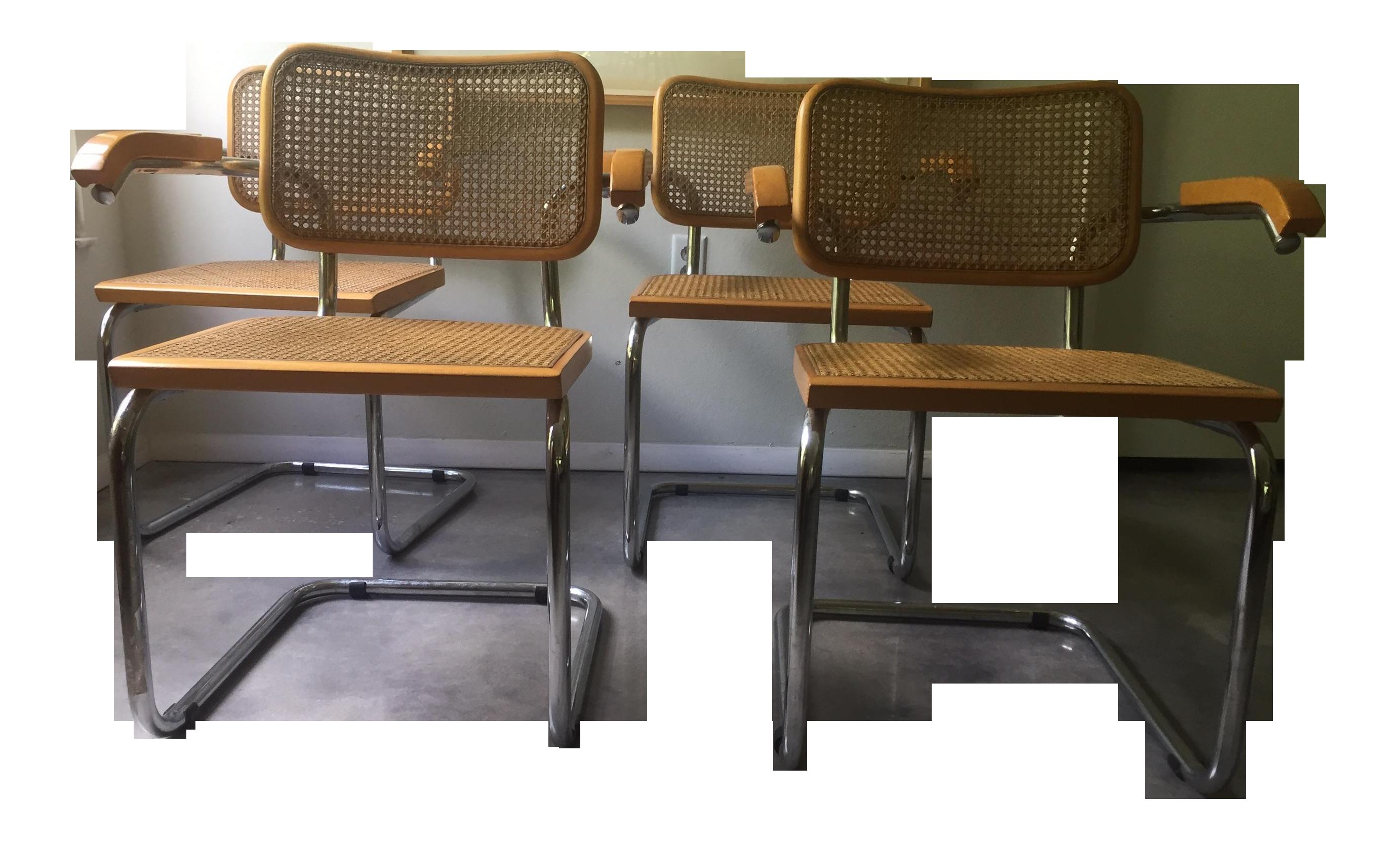 Bauhaus chair breuer - Image Of 4 Breuer Cesca Bauhaus Modern Cane Chairs