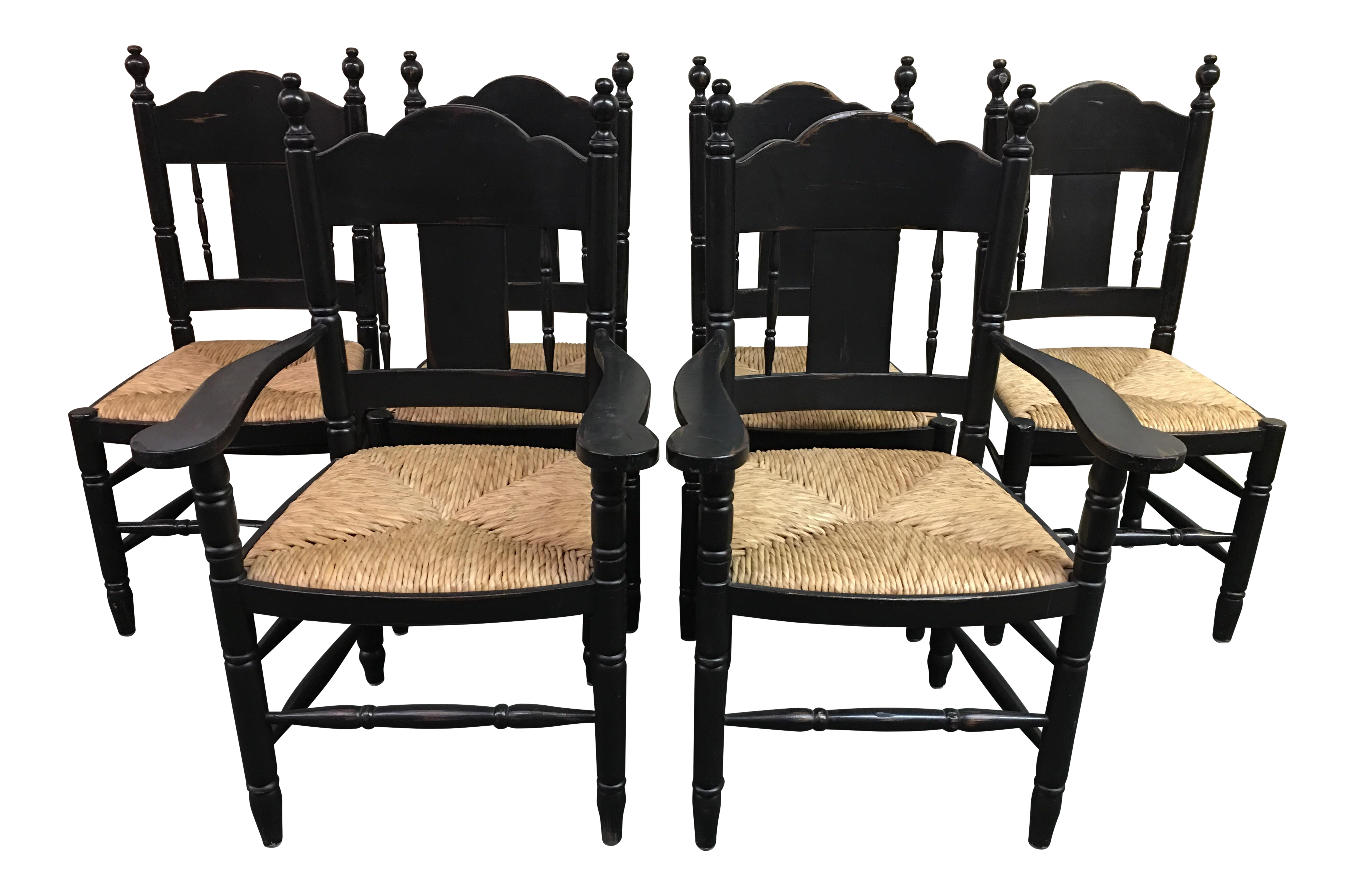 Distressed black dining chairs set of 6 chairish for Black dining sets with 6 chairs