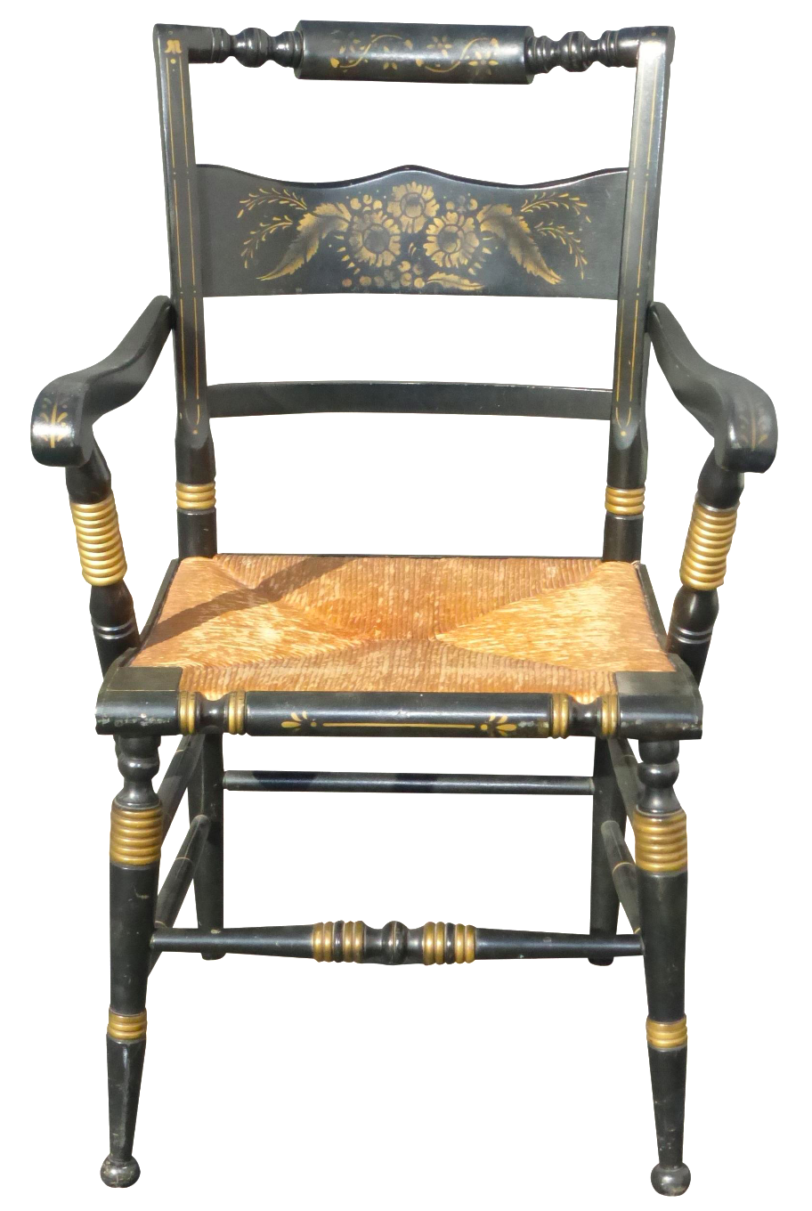 tell city french country black gold accent chair chairish. Black Bedroom Furniture Sets. Home Design Ideas