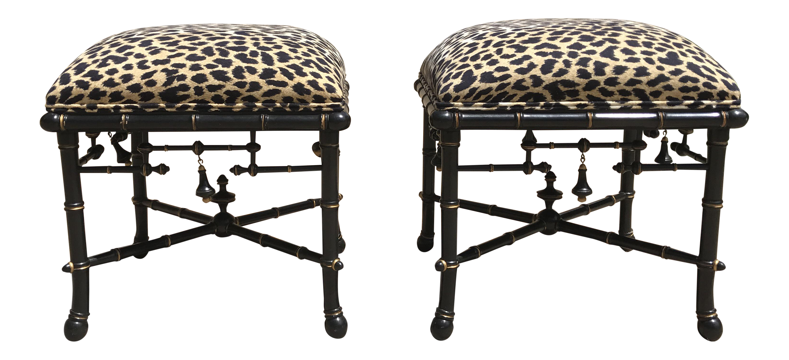 Baker Furniture Leopard Ottomans A Pair Chairish