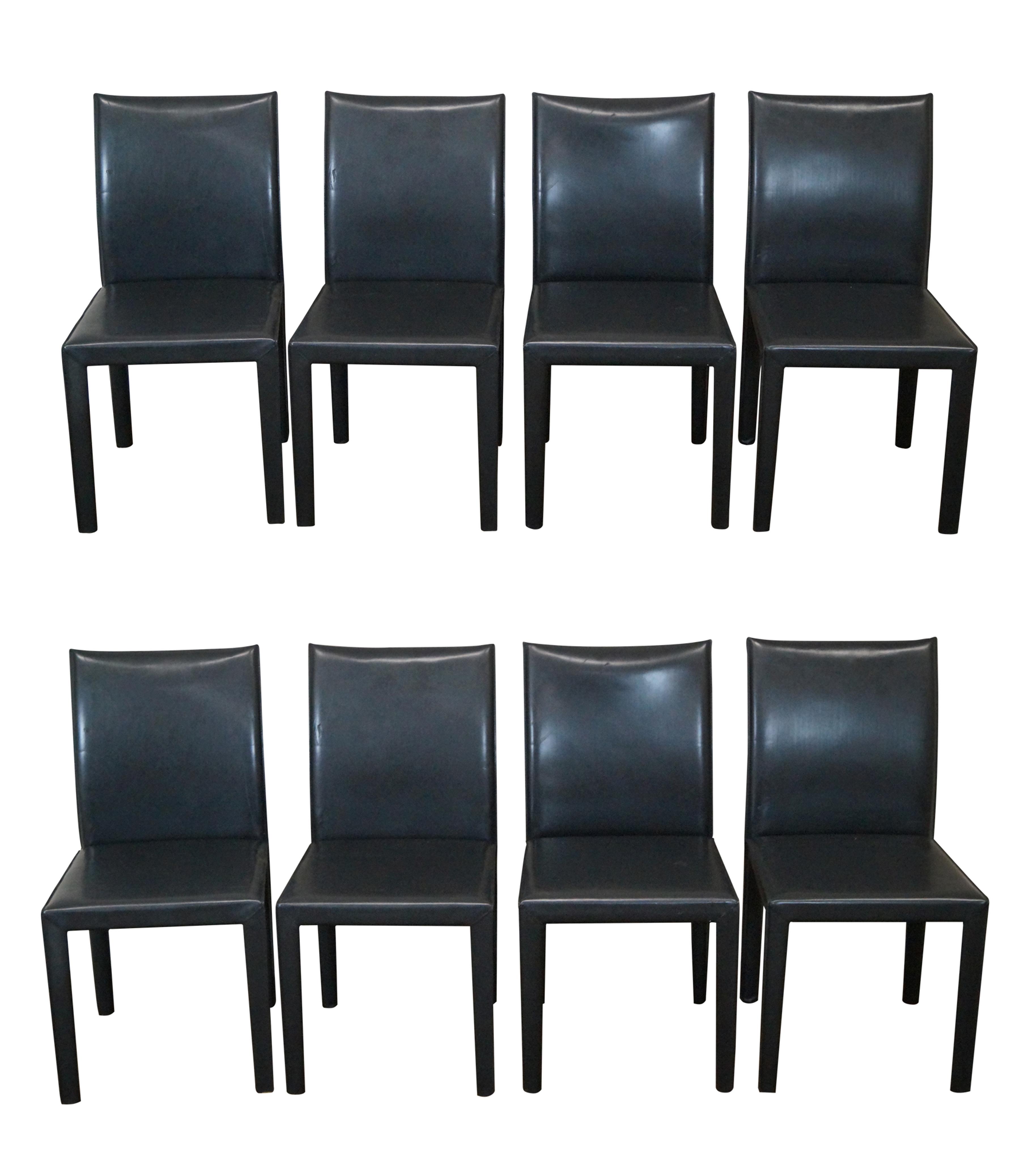 Maria Yee Black Leather Mondo Dining Chairs 8 Chairish