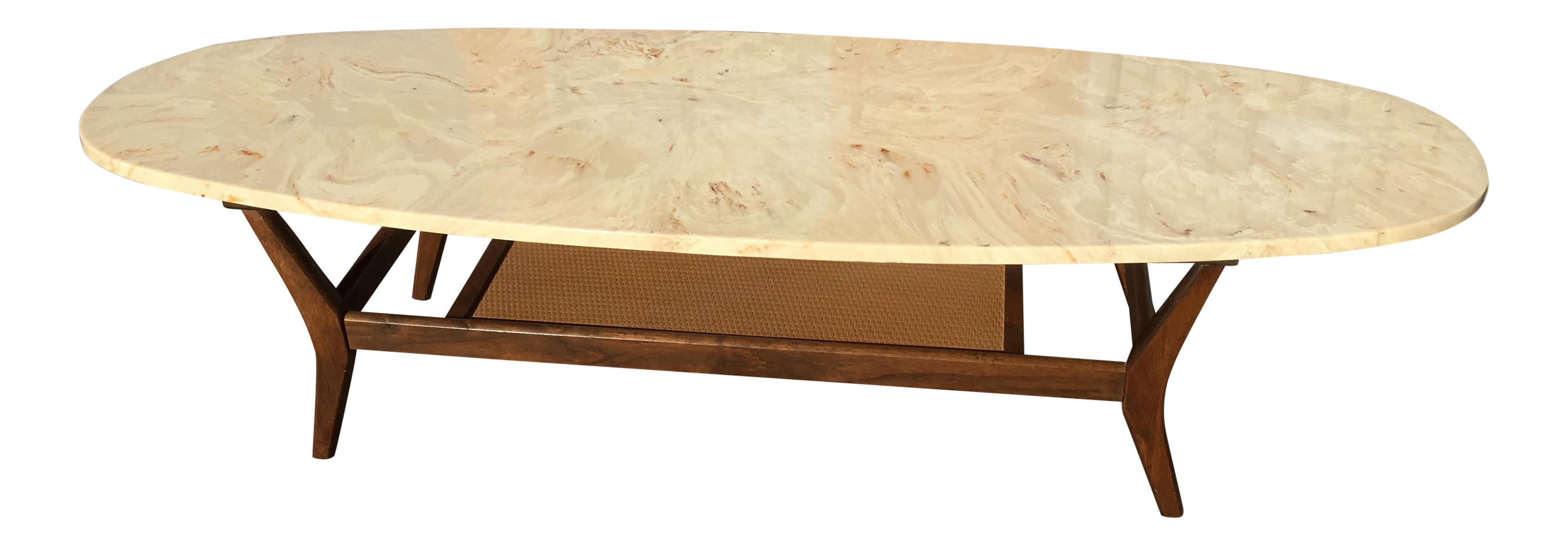 Mid Century Modern Marble Surfboard Coffee Table