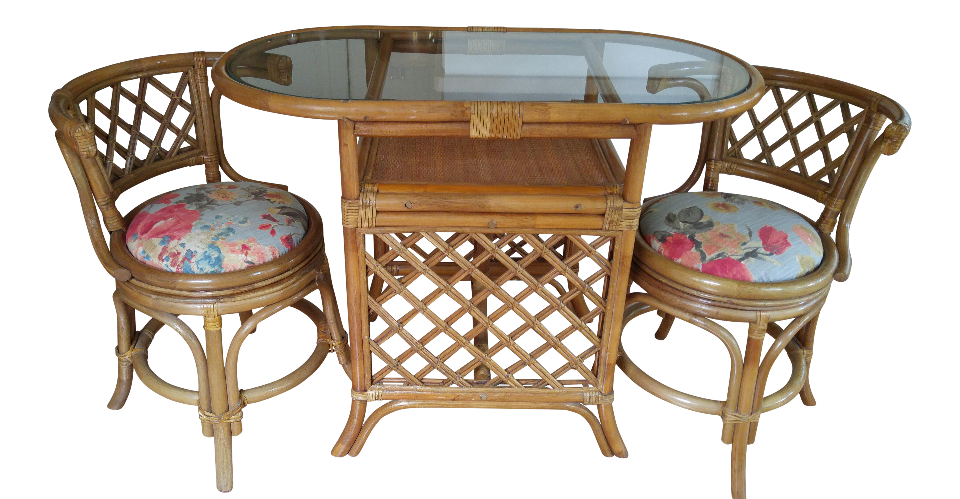 Vintage Bamboo Game Table & Chairs Set