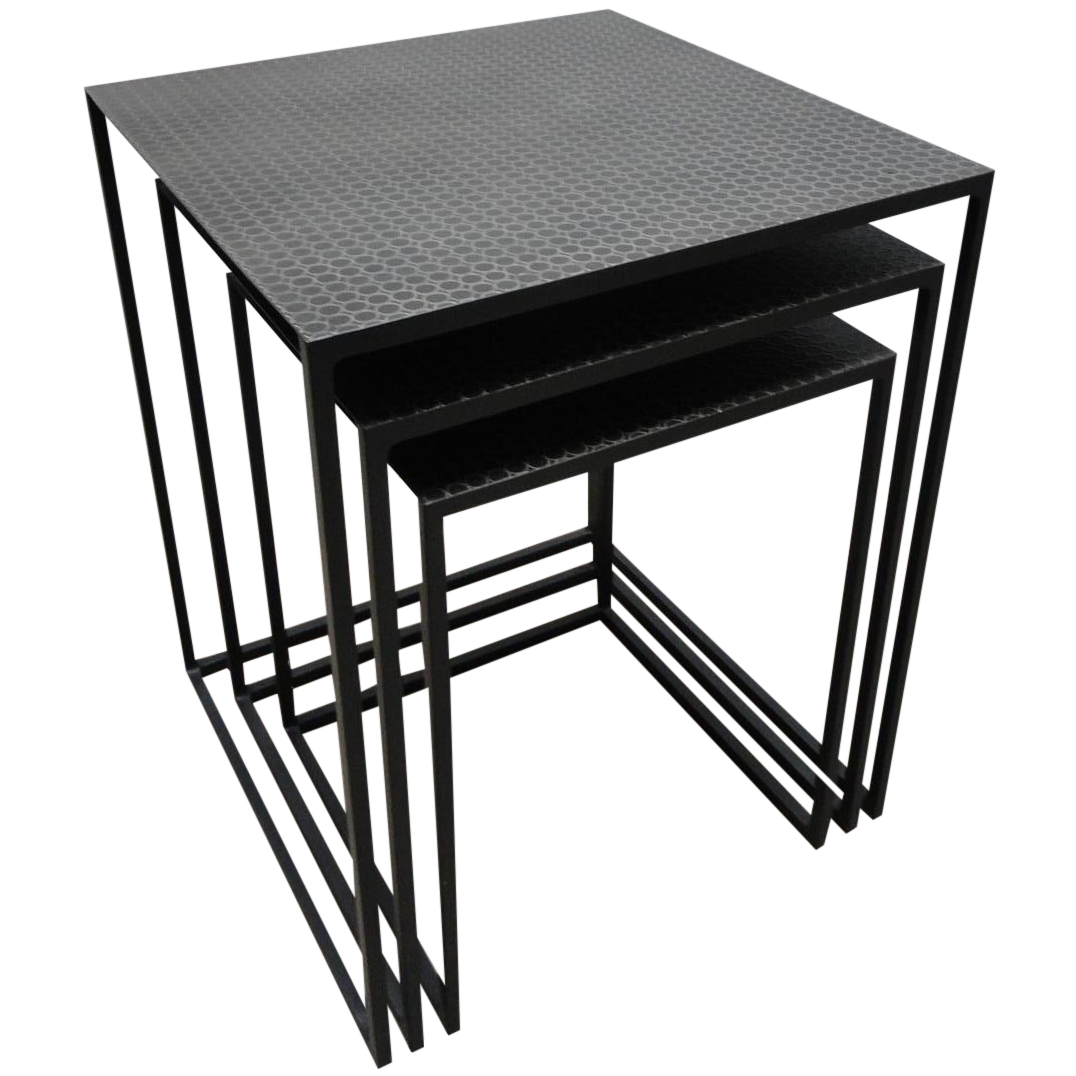 Contemporary Nesting Tables ~ Contemporary metal nesting tables set of chairish
