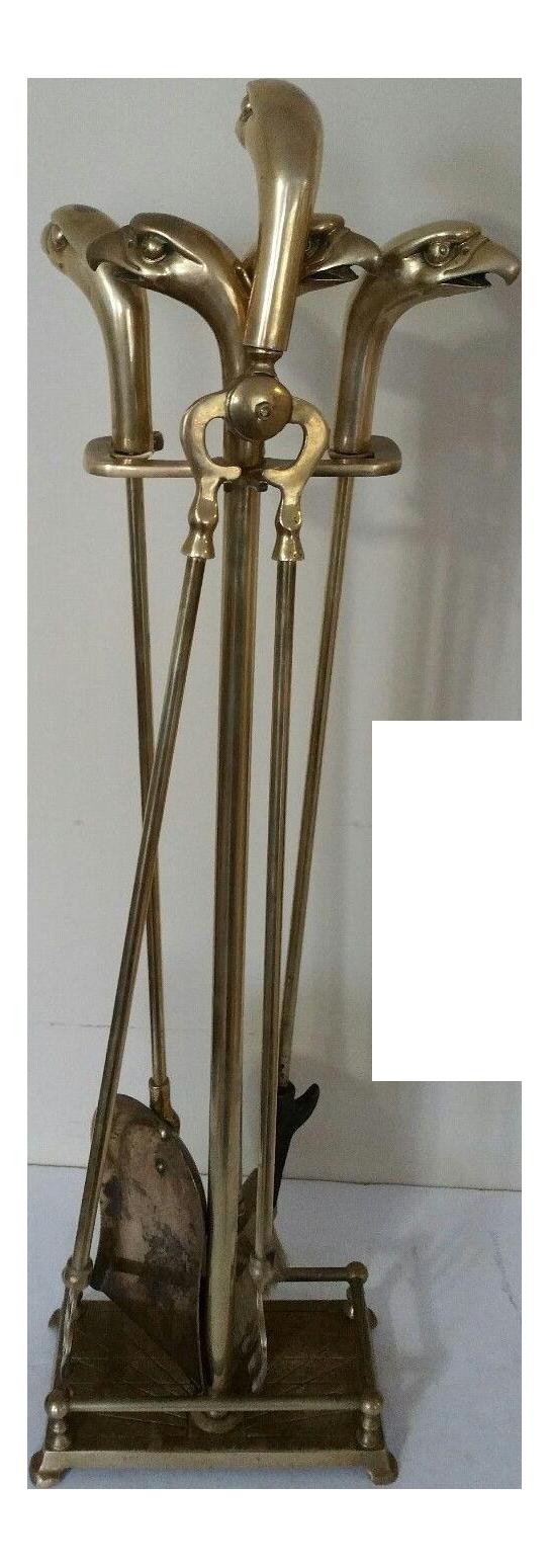 brass eagle head fireplace tool set set of 4 chairish