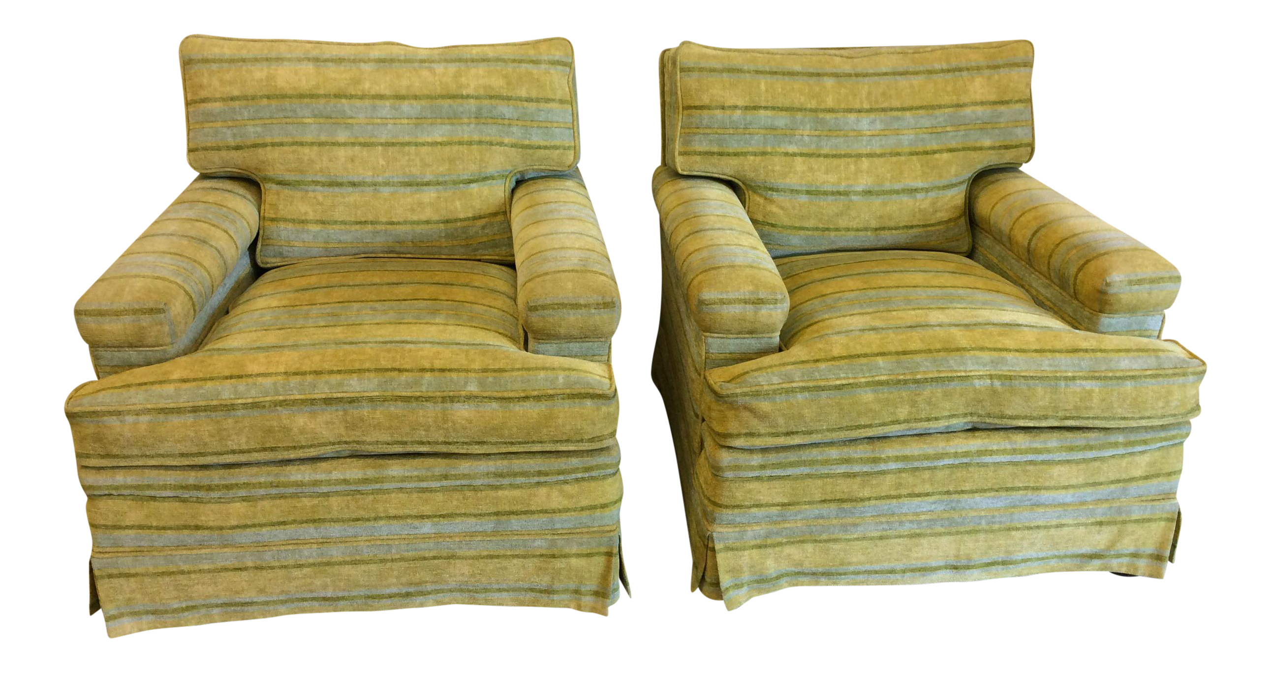 Chartreuse & Canary Yellow Chenille Club Chairs A Pair