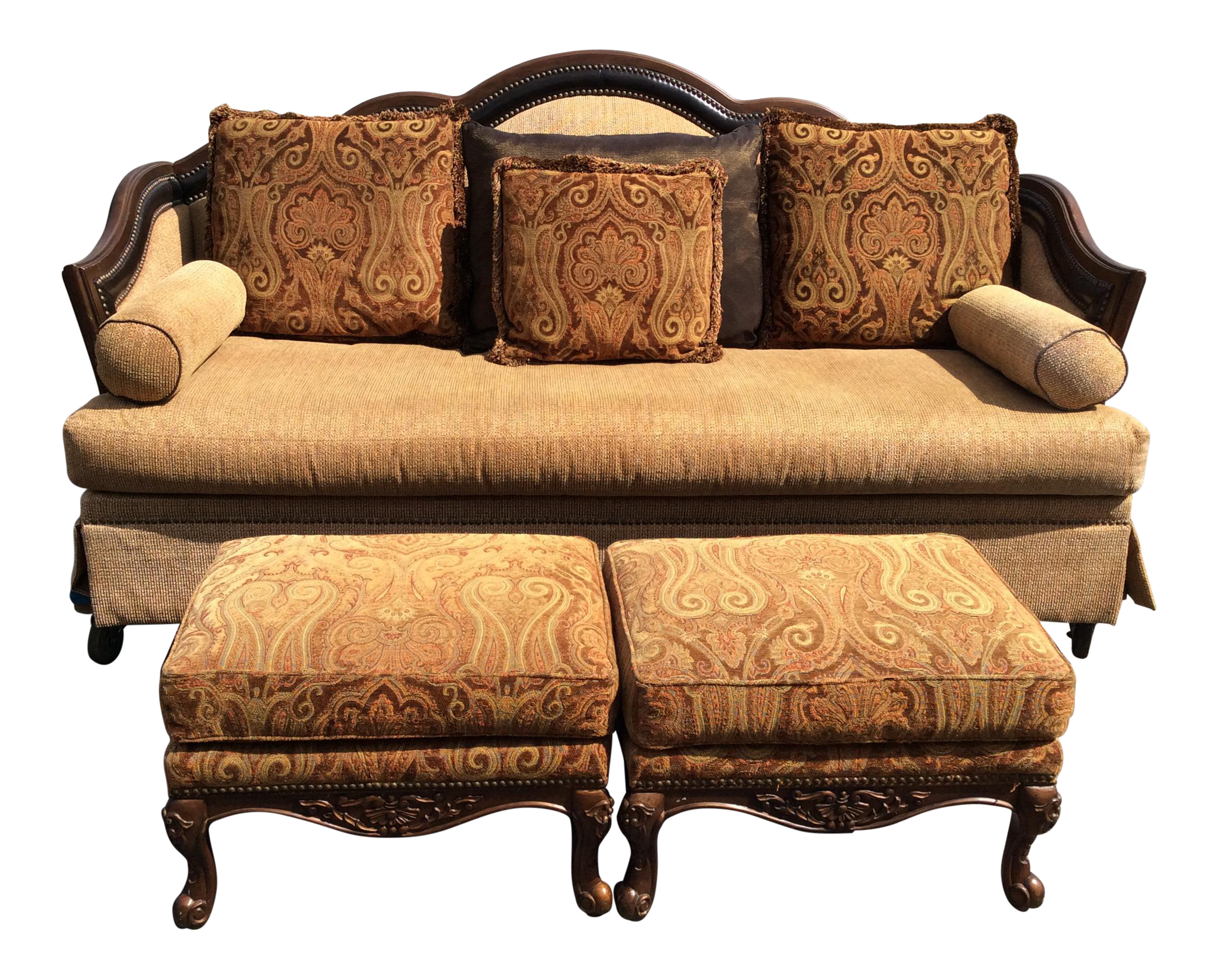 Chenille Sofa amp 2 Ottomans Chairish : chenille sofa and 2 ottomans 4246 from www.chairish.com size 2321 x 1867 png 6472kB