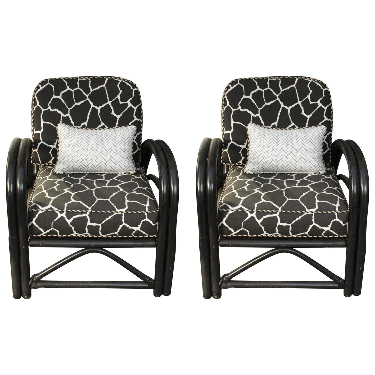 Bamboo arm chairs - Image Of 1960s Outdoor Art Deco Bamboo Arm Chairs Pair