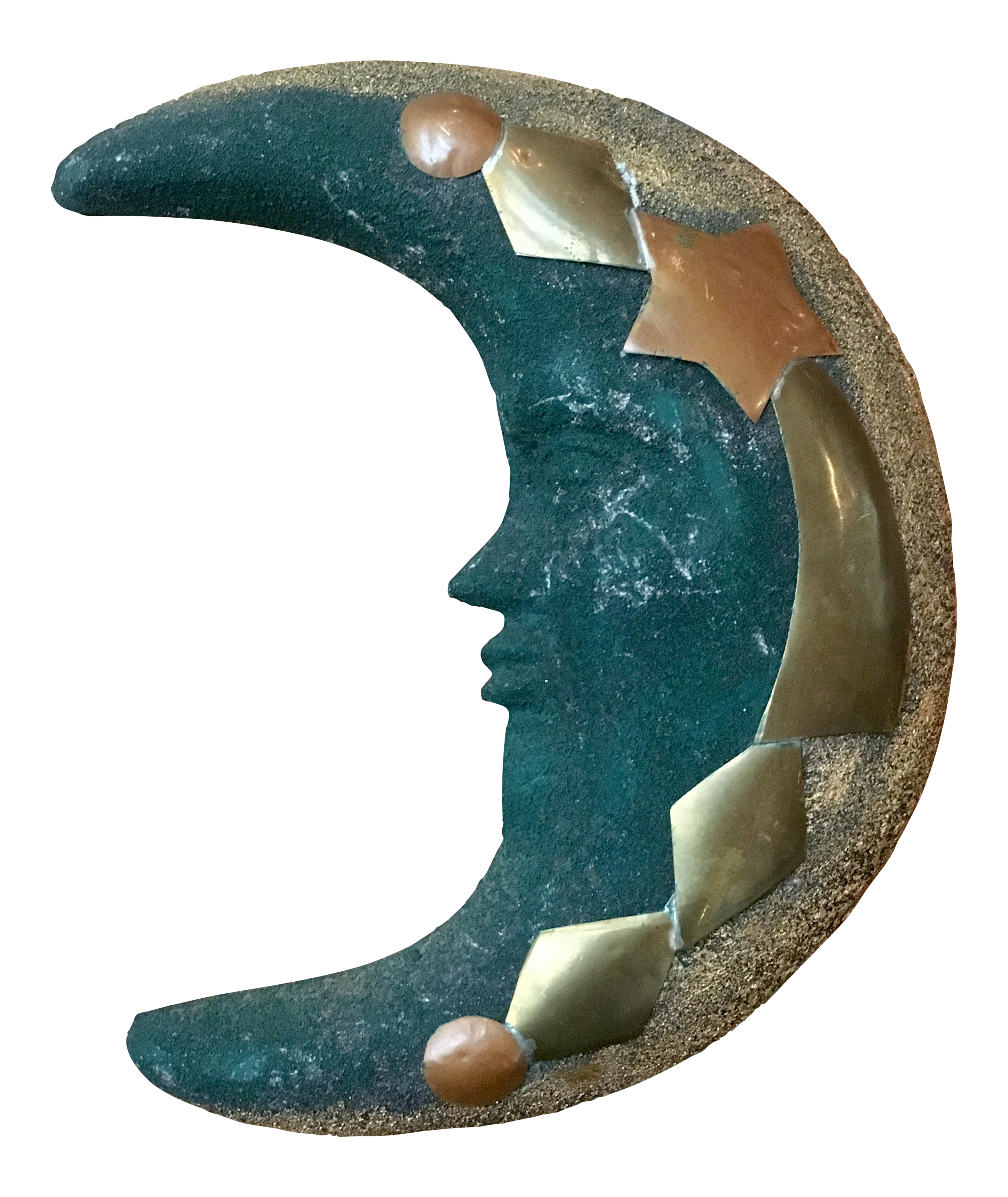 Green Terra Cotta : Green terra cotta brass moon wall hanging chairish