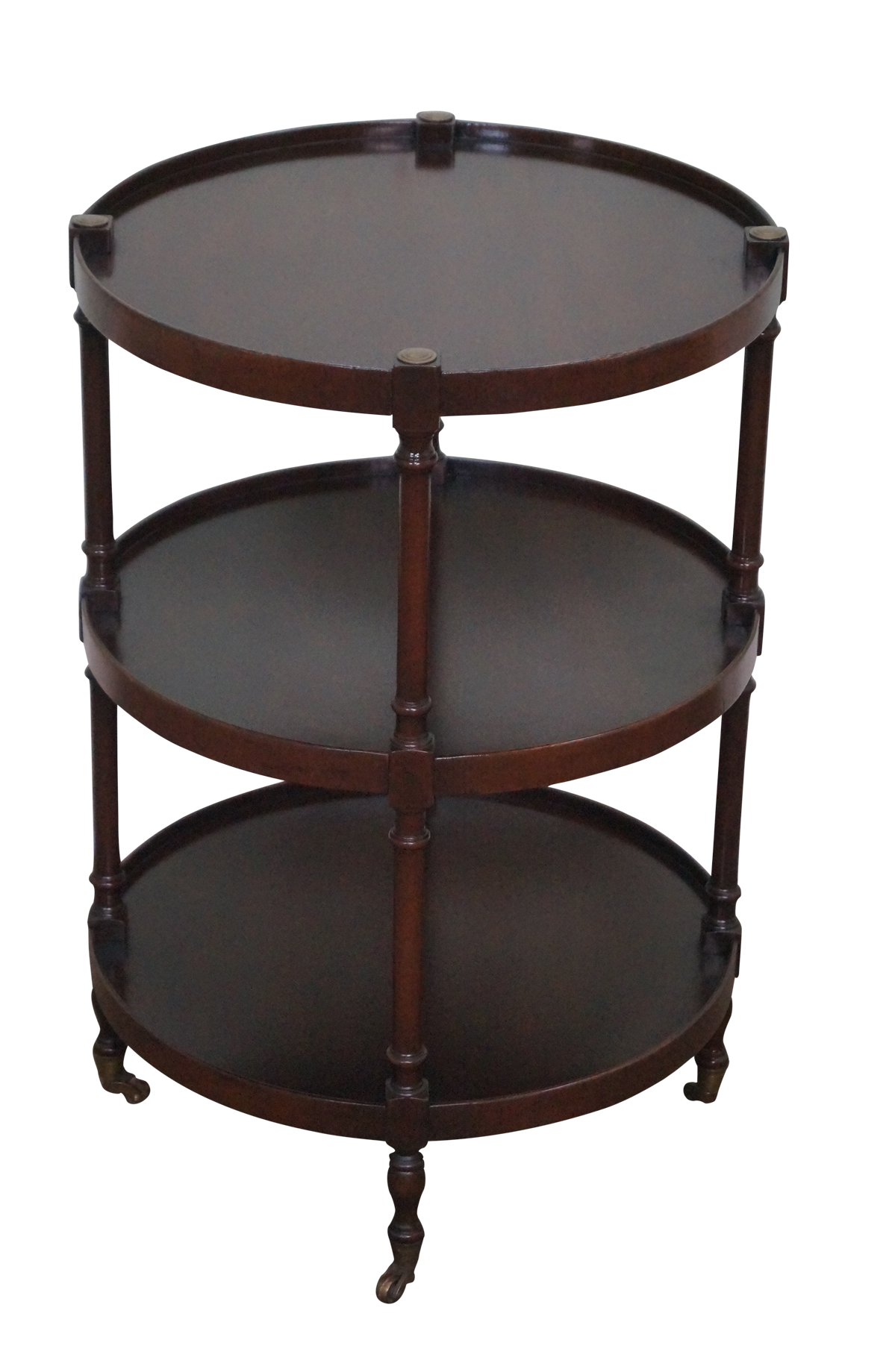 Brandt Vintage Mahogany Round 3 Tier Side Table