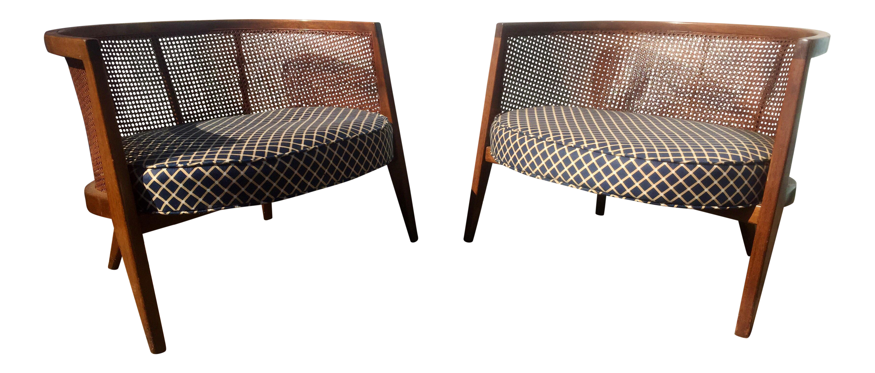 Harvey Probber Model 1066 Cane Back Lounge Chairs A Pair