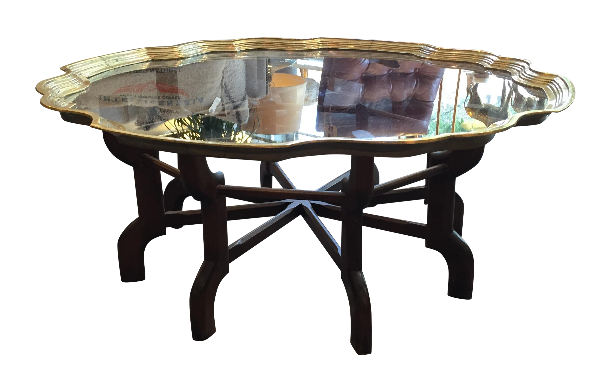 vintage moroccan style brass and wood coffee table chairish