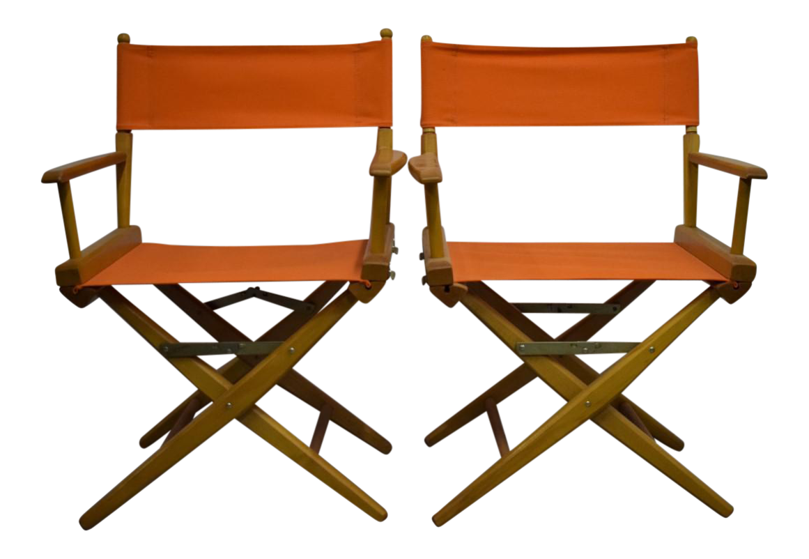 Hermes Orange Canvas Directors Chairs A Pair Chairish