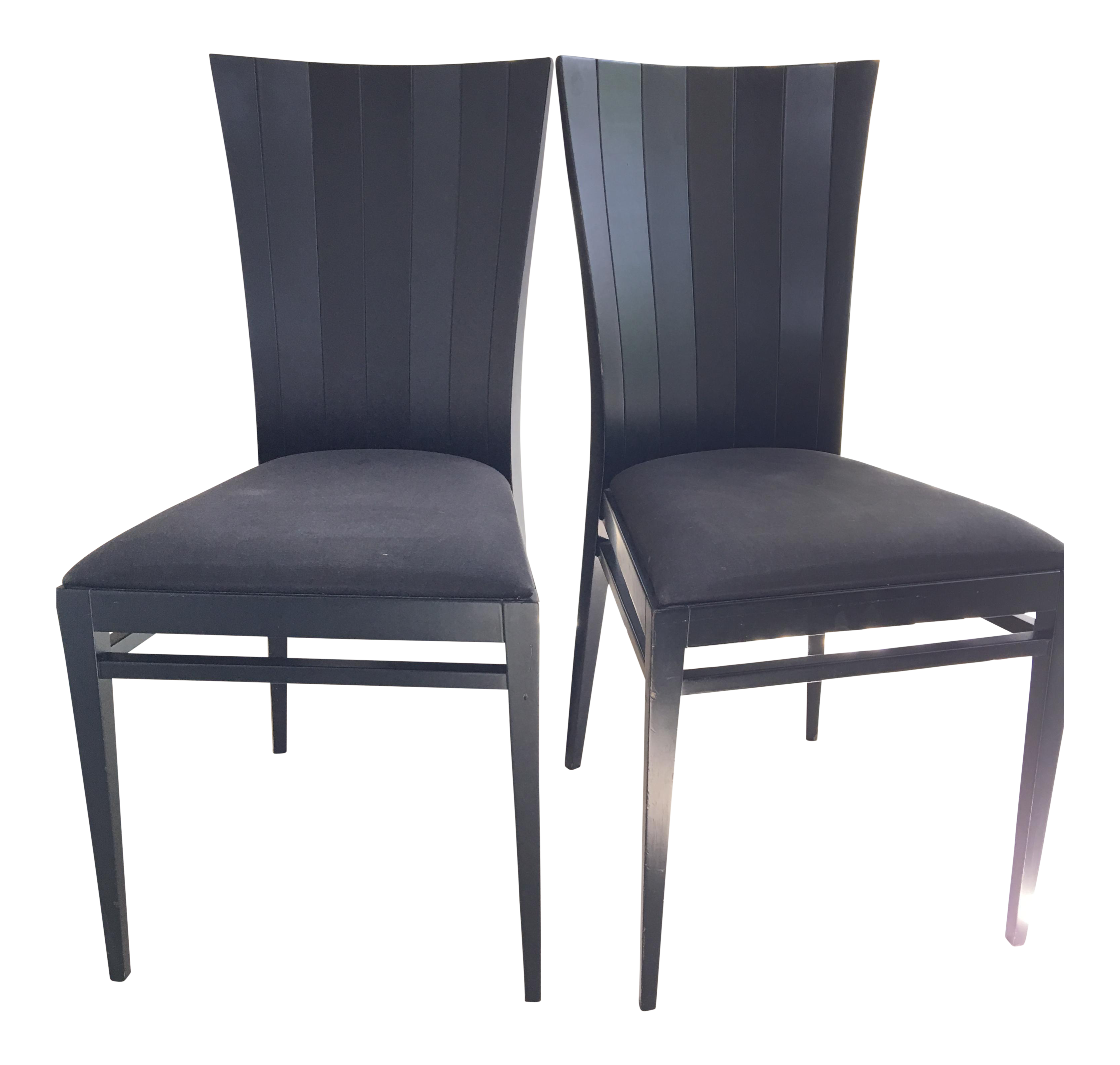 roche bobois black wood occasional dinning chairs pair. Black Bedroom Furniture Sets. Home Design Ideas