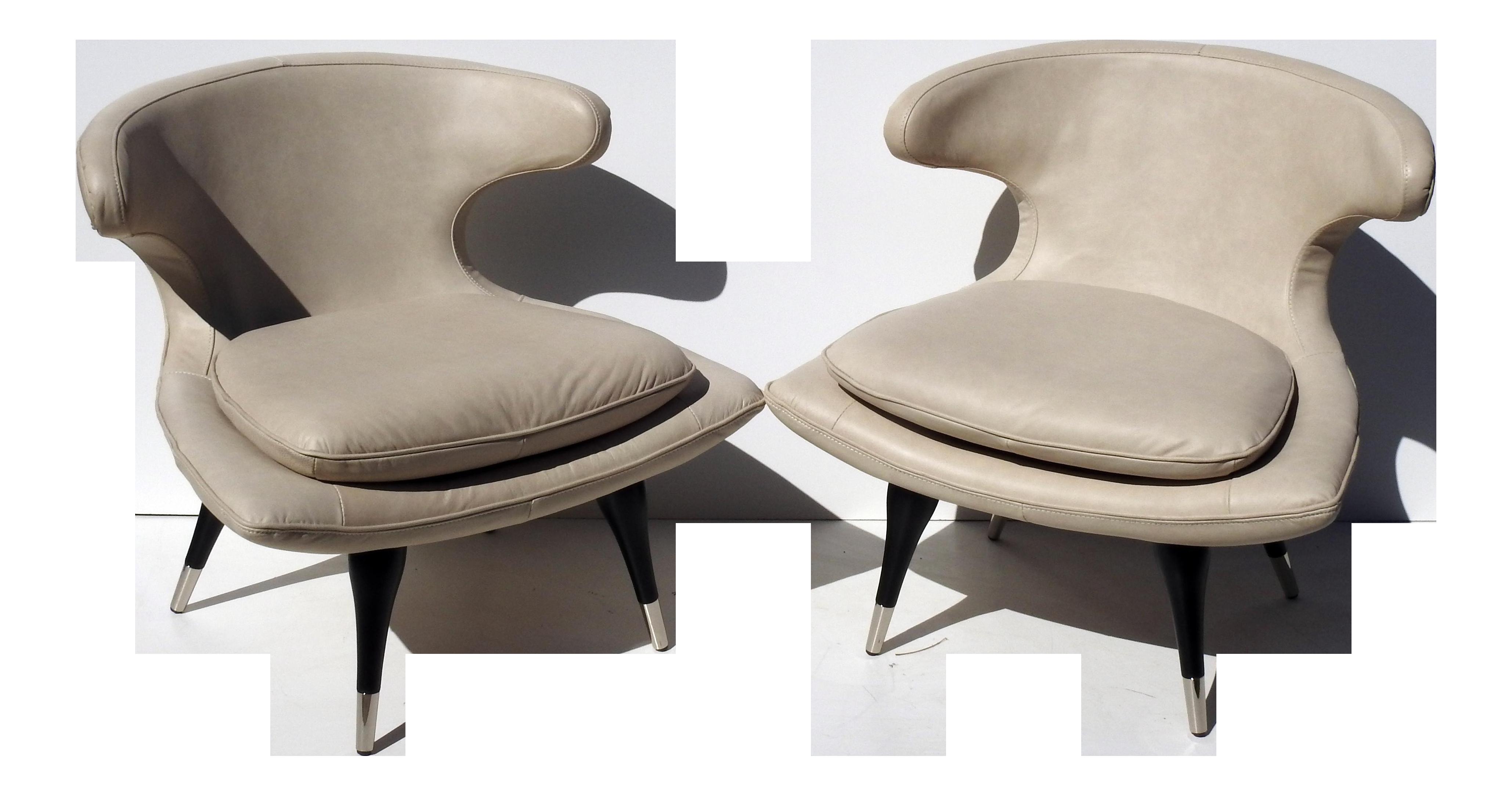 Antique slipper chair - Karpen Style Sculptural Horn Chairs A Pair