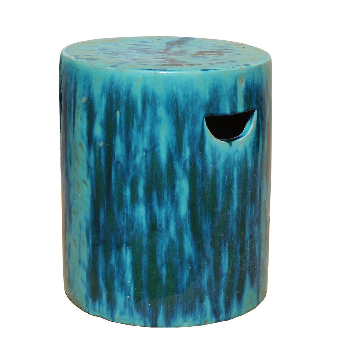 Chinese Ceramic Clay Turquoise Green Glaze Round Garden Stool cs2841 |  Chairish