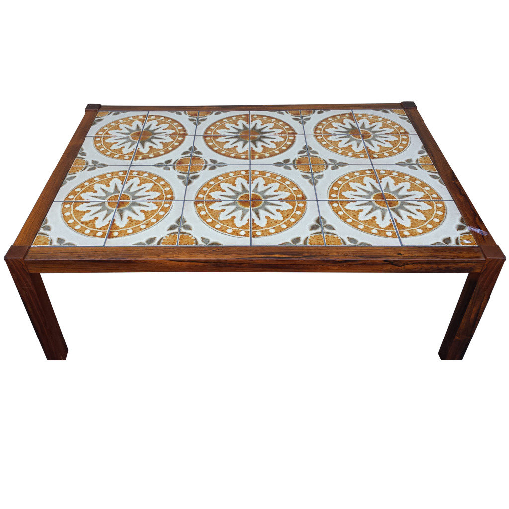 Mid century tile top coffee table chairish for Coffee table 72 inch