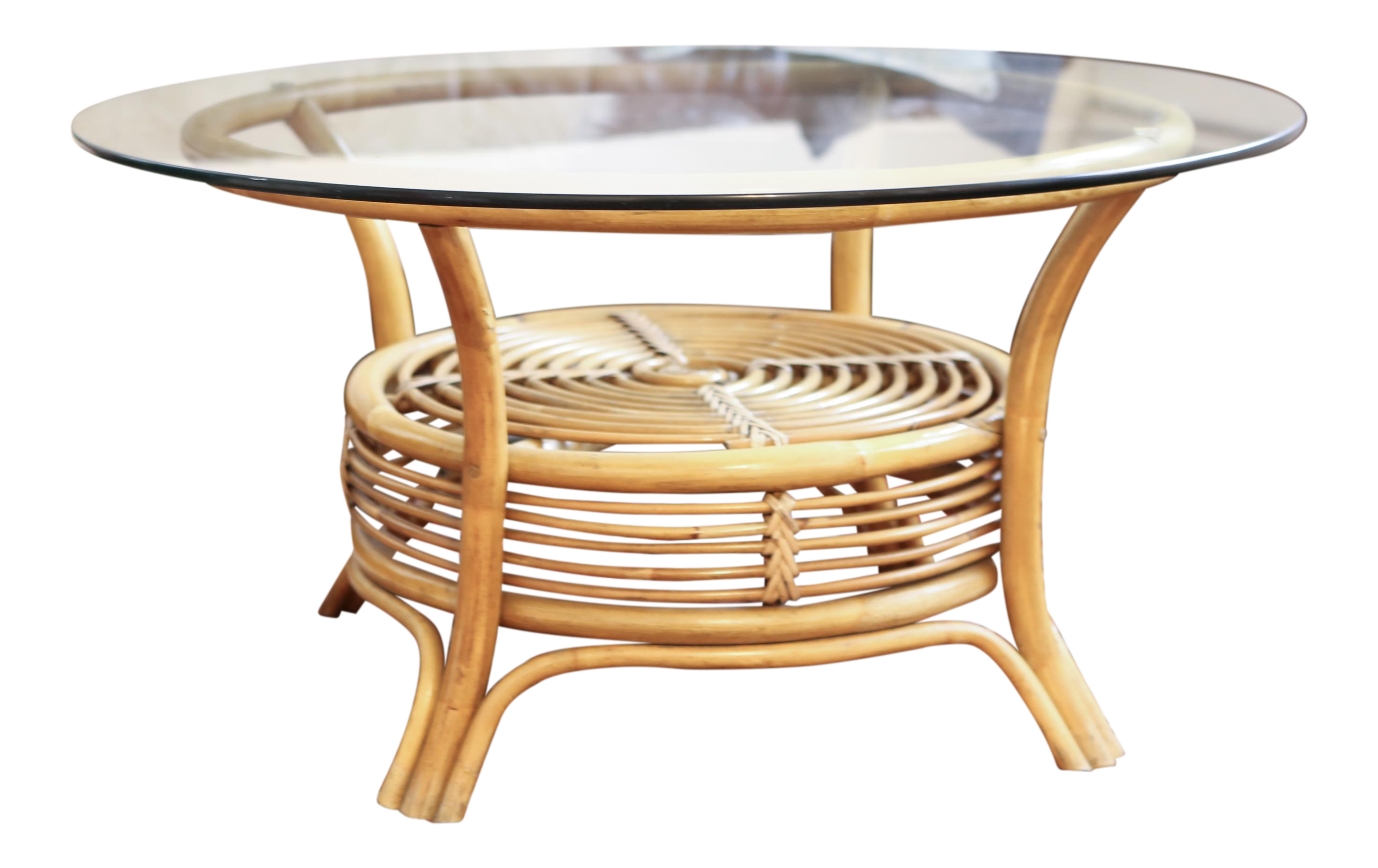Round Rattan & Bamboo Pencil Reed Glass Top Coffee Table