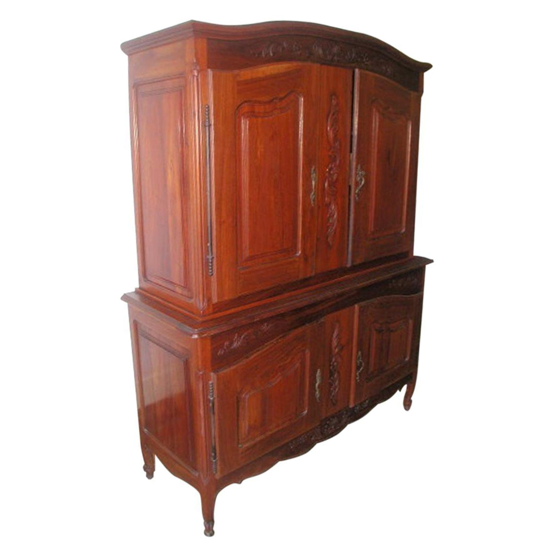 french louis xv walnut armoire chairish. Black Bedroom Furniture Sets. Home Design Ideas