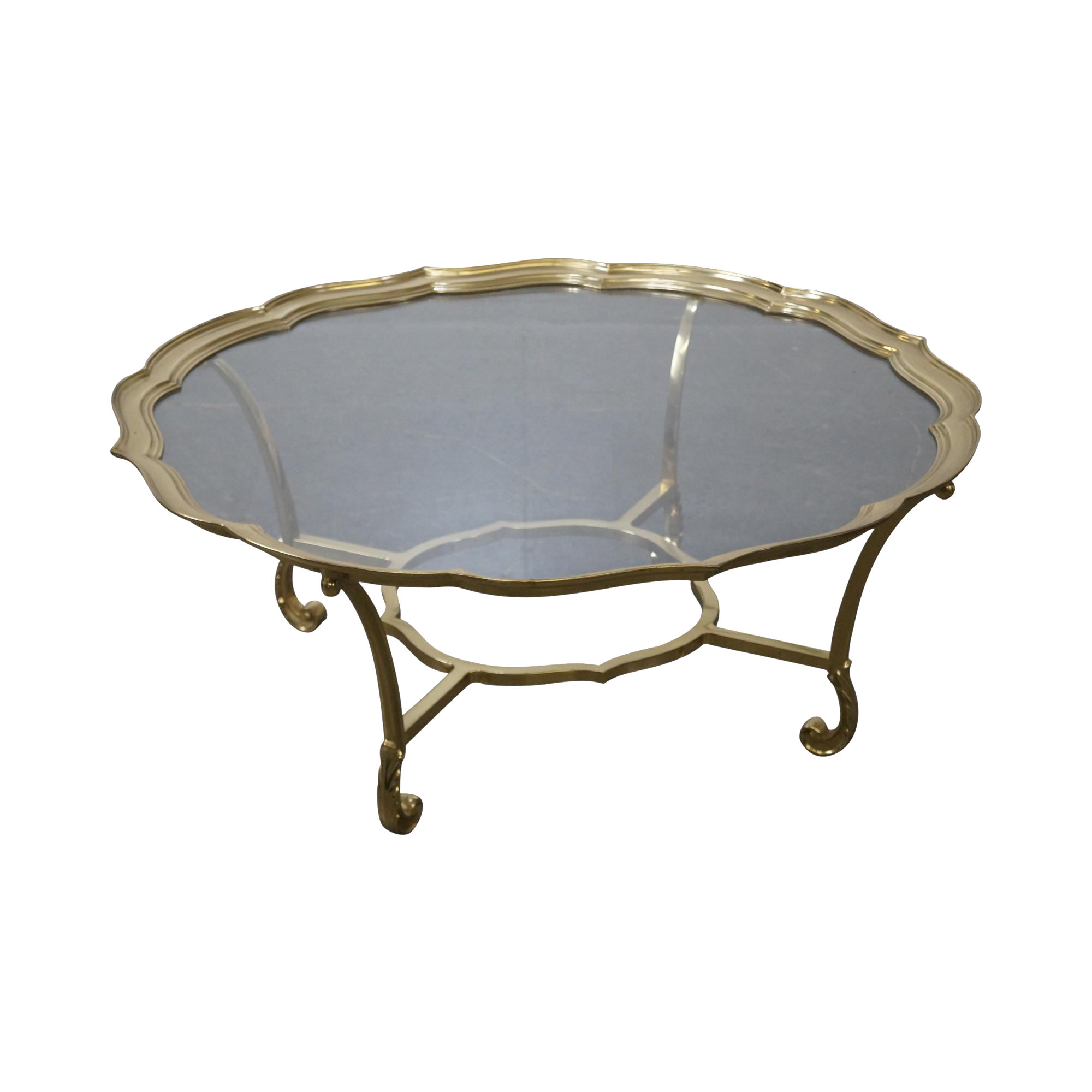 Image Of Labarge Italian Brass Glass Scalloped Top Coffee Table