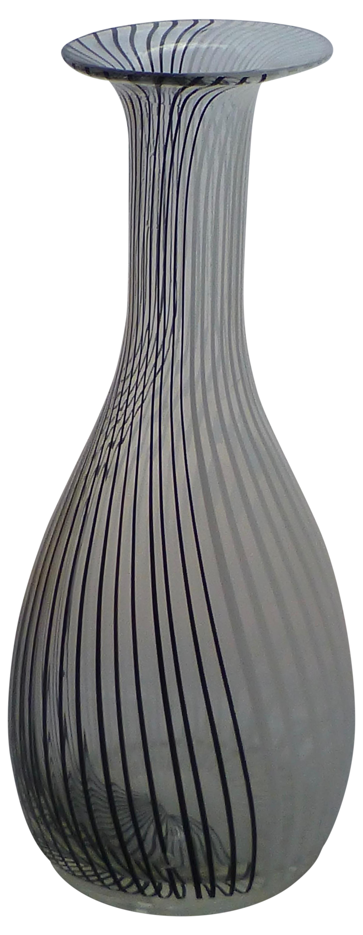 Murano Glass Black Amp White Striped Vase By Venini Chairish