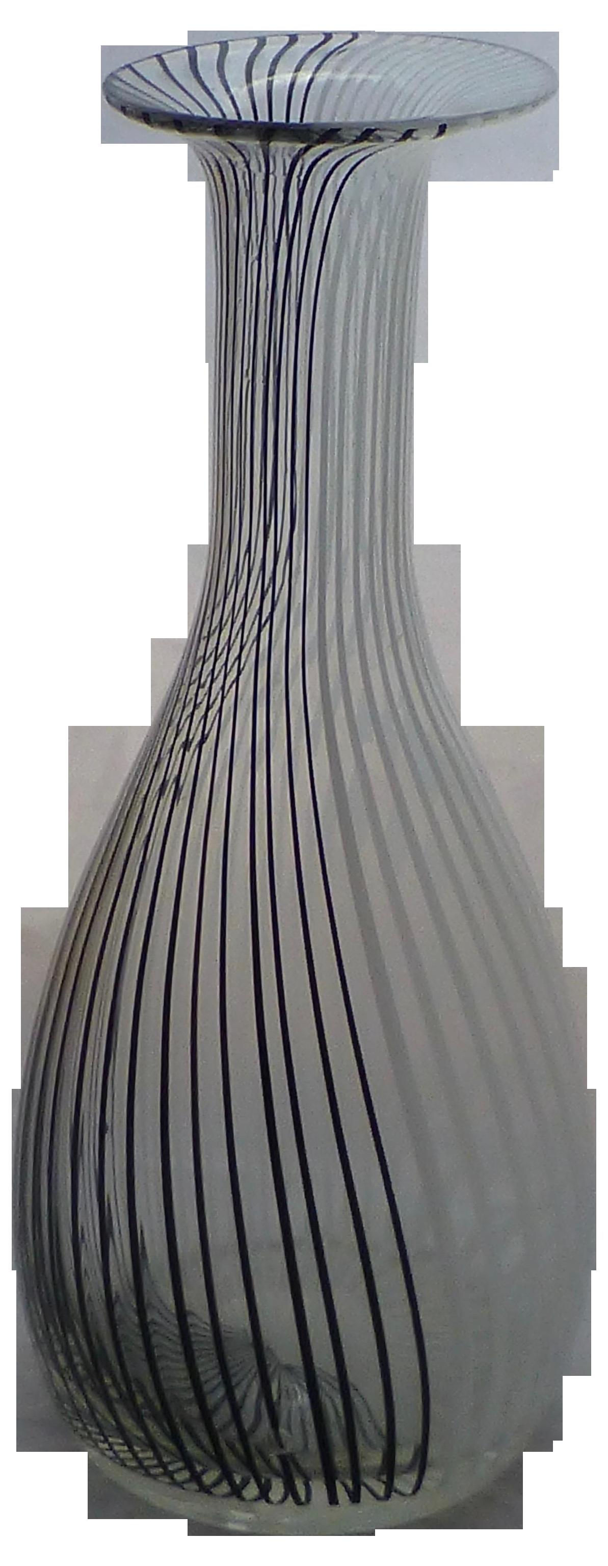 Murano Glass Black Amp White Striped Vase By Venini Chairish