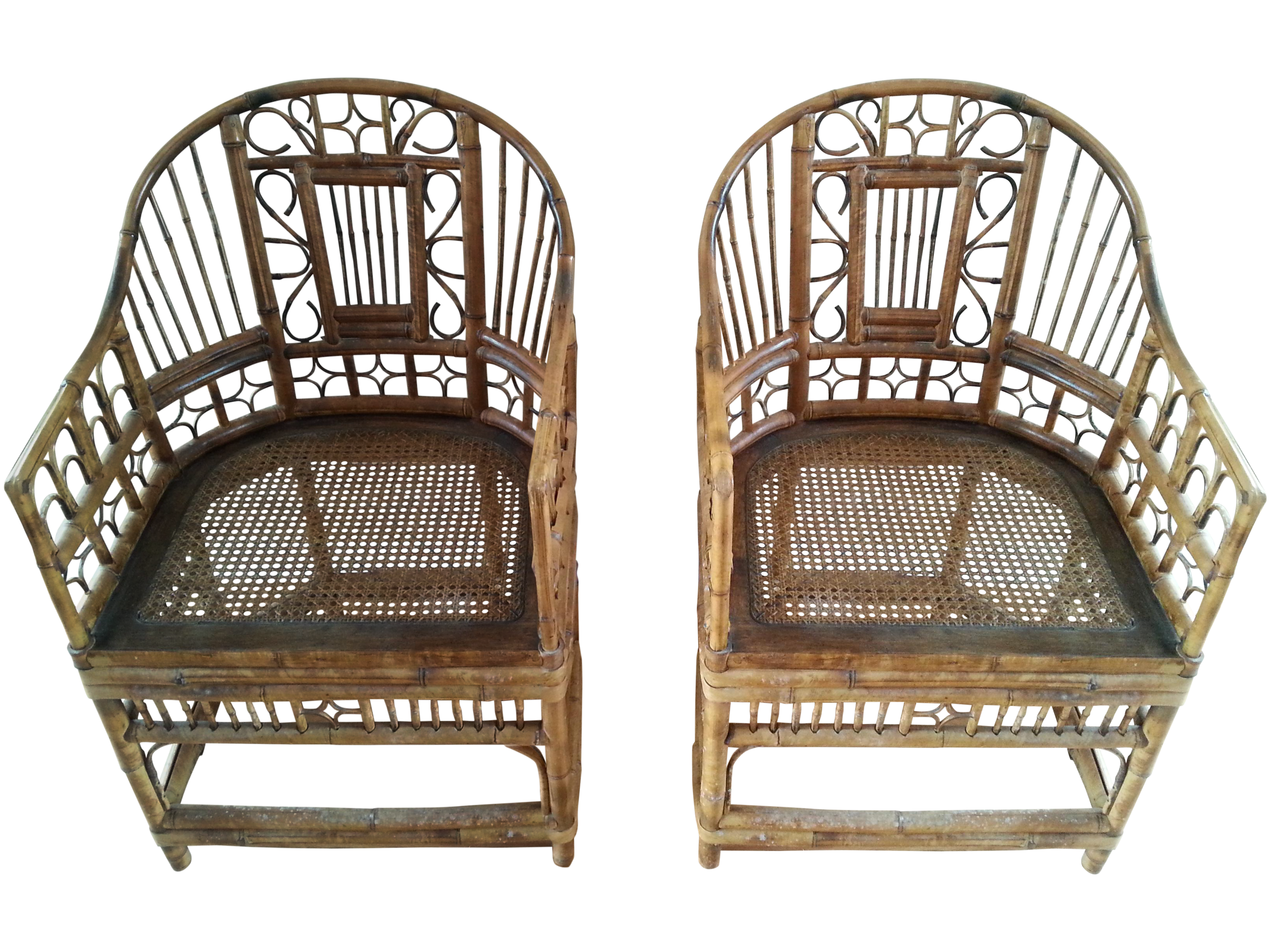 Brighton Pavilion Style Bamboo Chairs Pair
