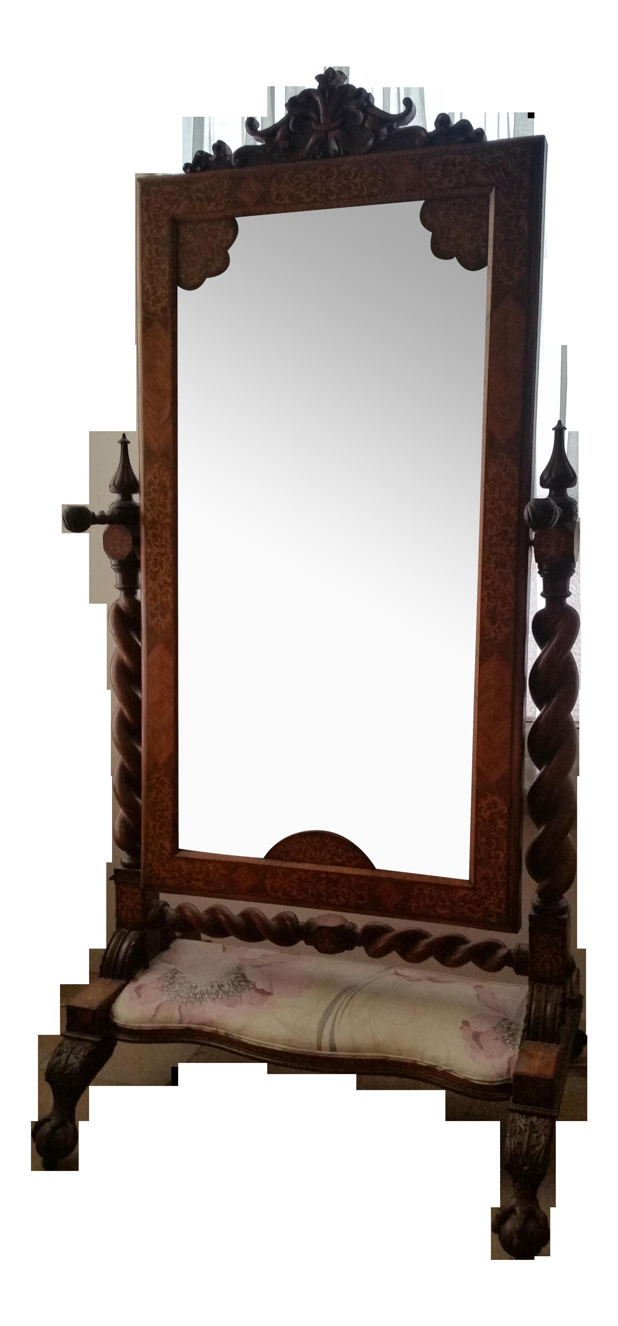 Antique Cheval Mirror Barley Twist Claw Foot Chairish