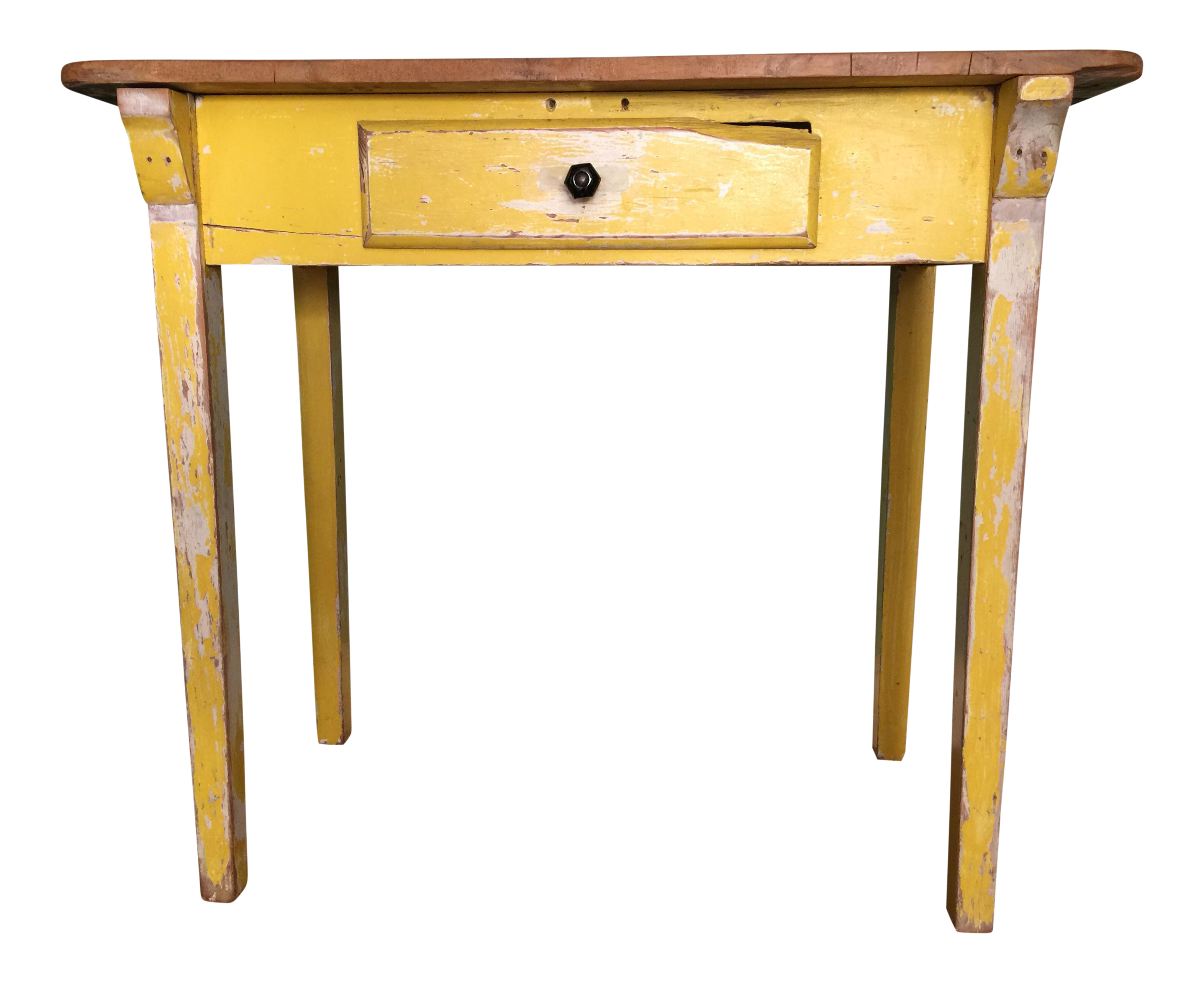 Primitive yellow console table chairish for Sofa table yellow