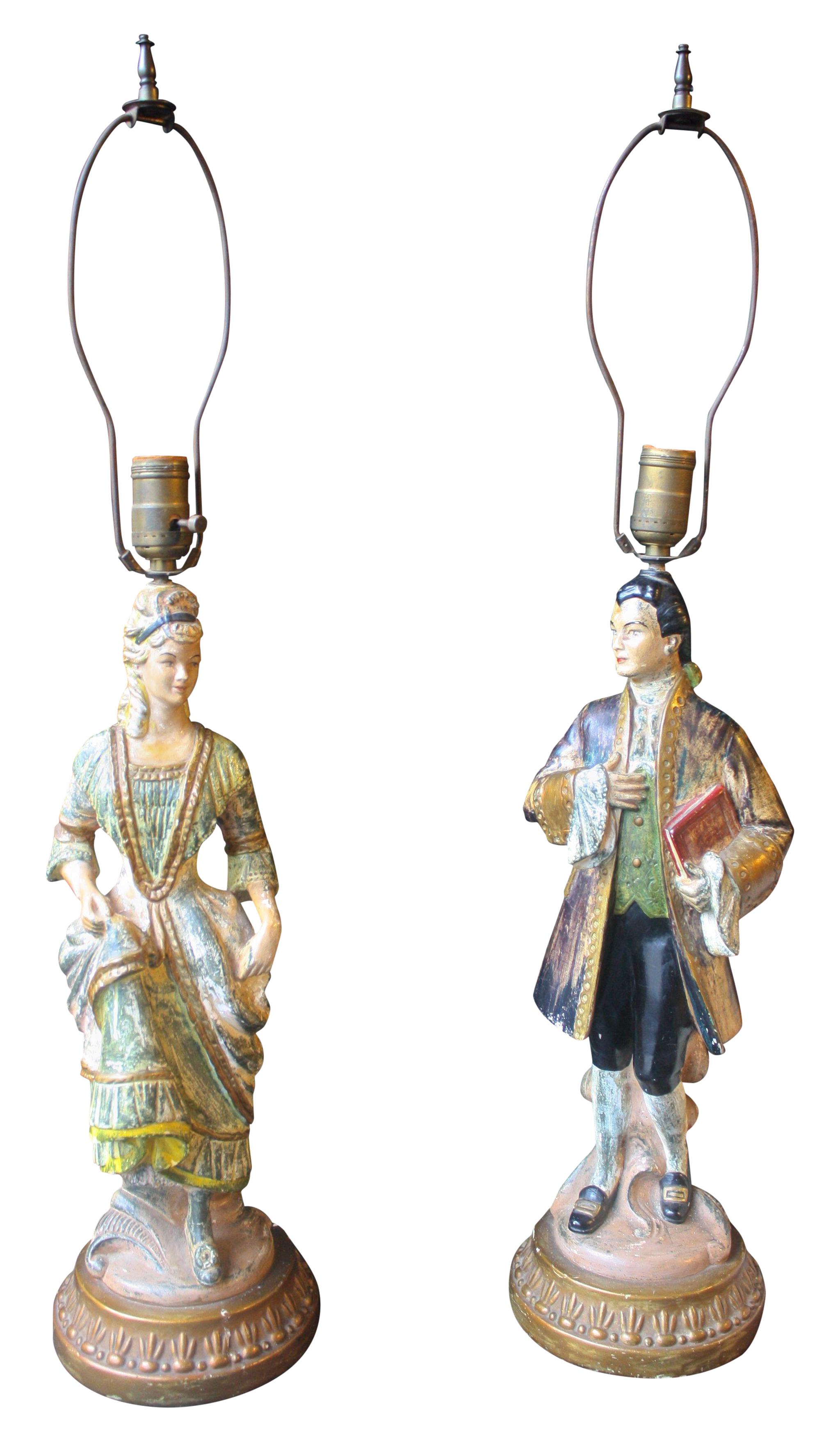 1950 S Antique Chalkware Figurine Lamps Chairish