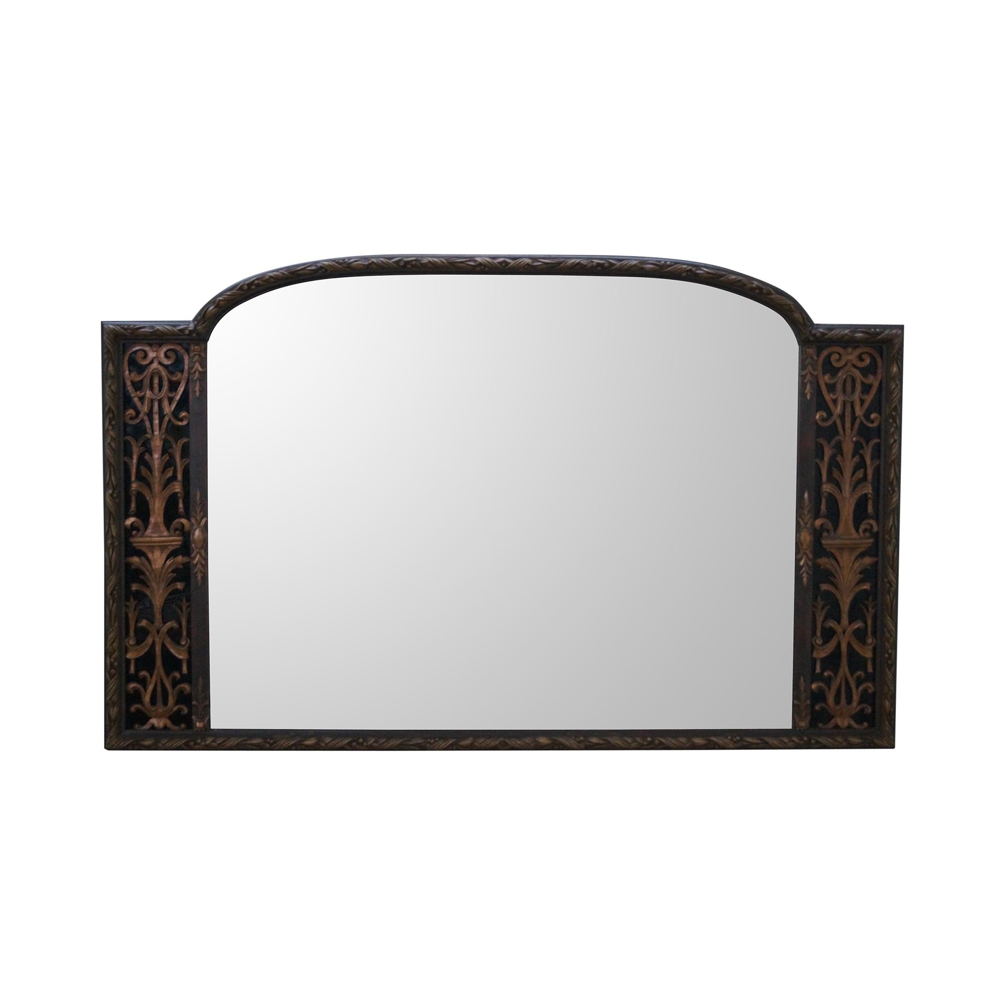Antique Art Deco Gold Frame Mirror amp Black Glass Chairish