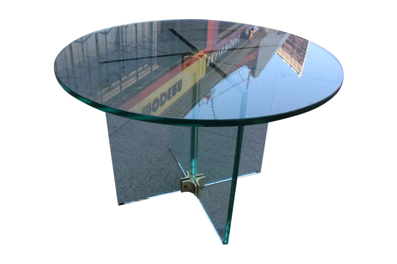 Pace Collection Round All Glass X Base Side Table
