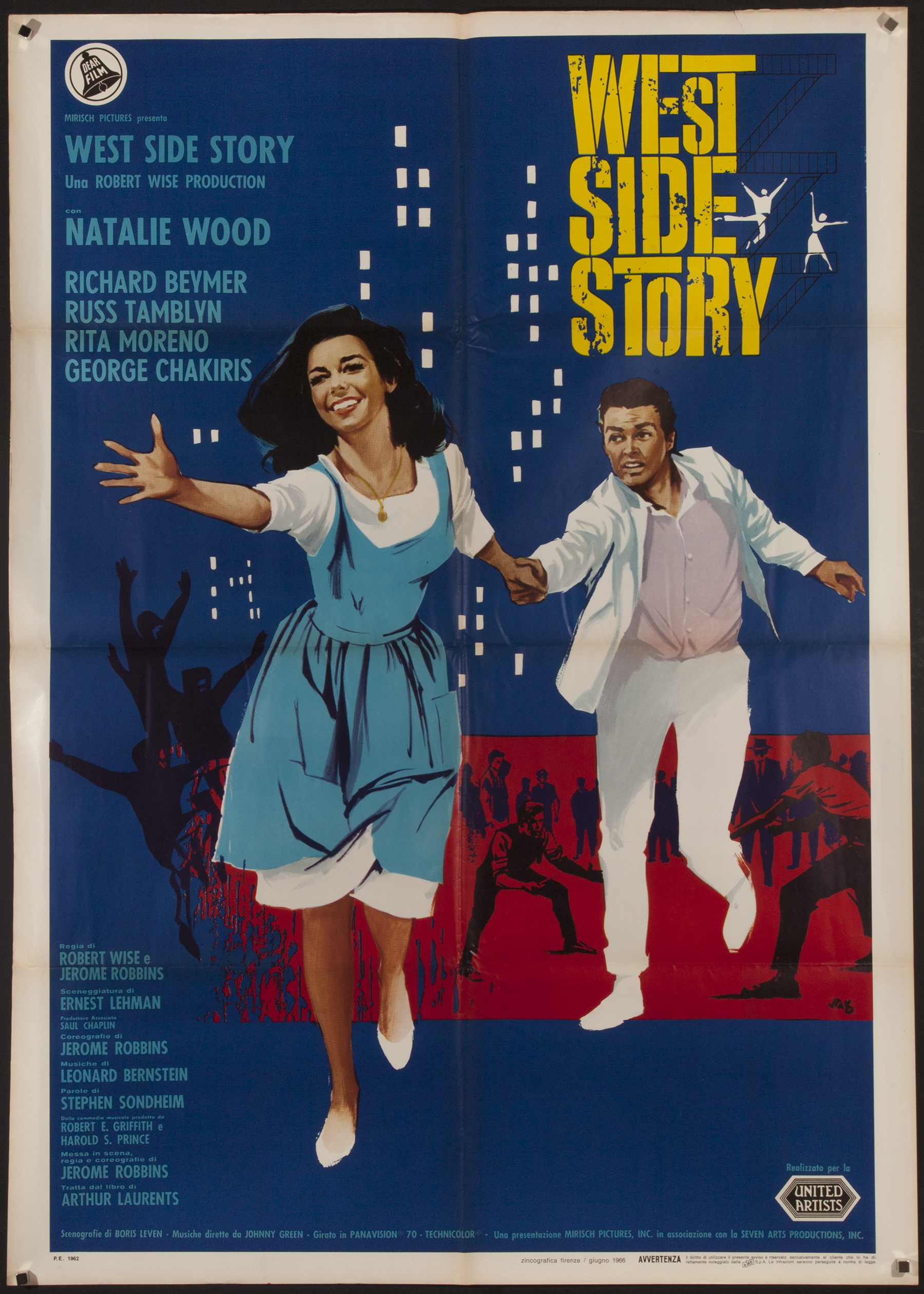 Vintage 1966 Italian West Side Story Film Poster Chairish