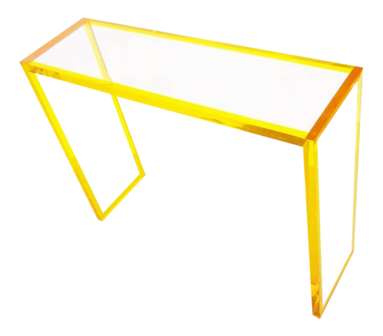 lovely yellow and clear lucite console decaso. Black Bedroom Furniture Sets. Home Design Ideas