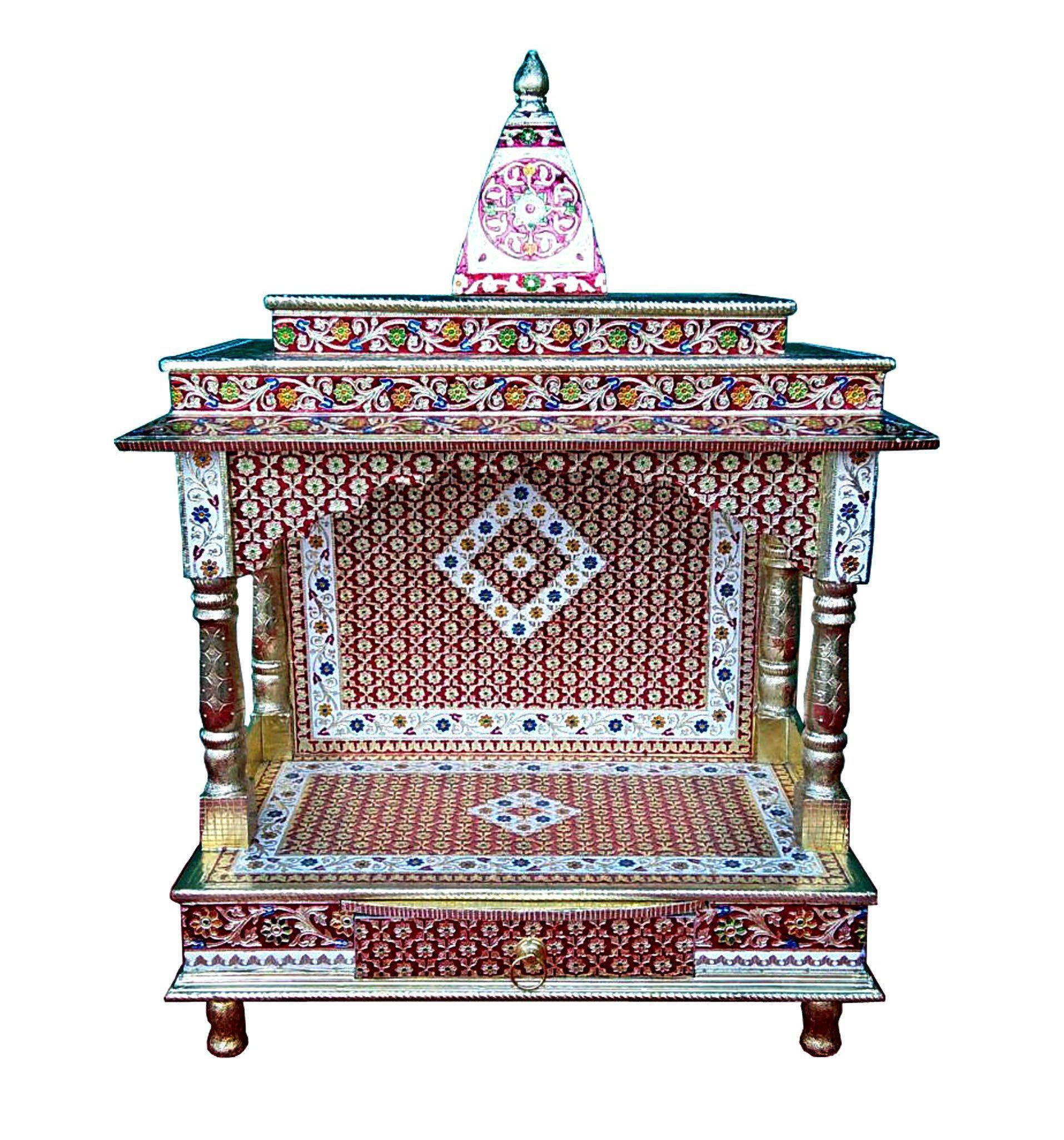 Meenakari Multicolor Home Puja Mandir Hindu Temple Mandapam Altar | Chairish