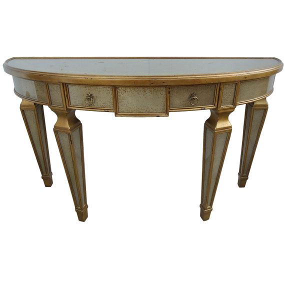 Theodore alexander eglomise demilune table chairish for Table 52 art smith