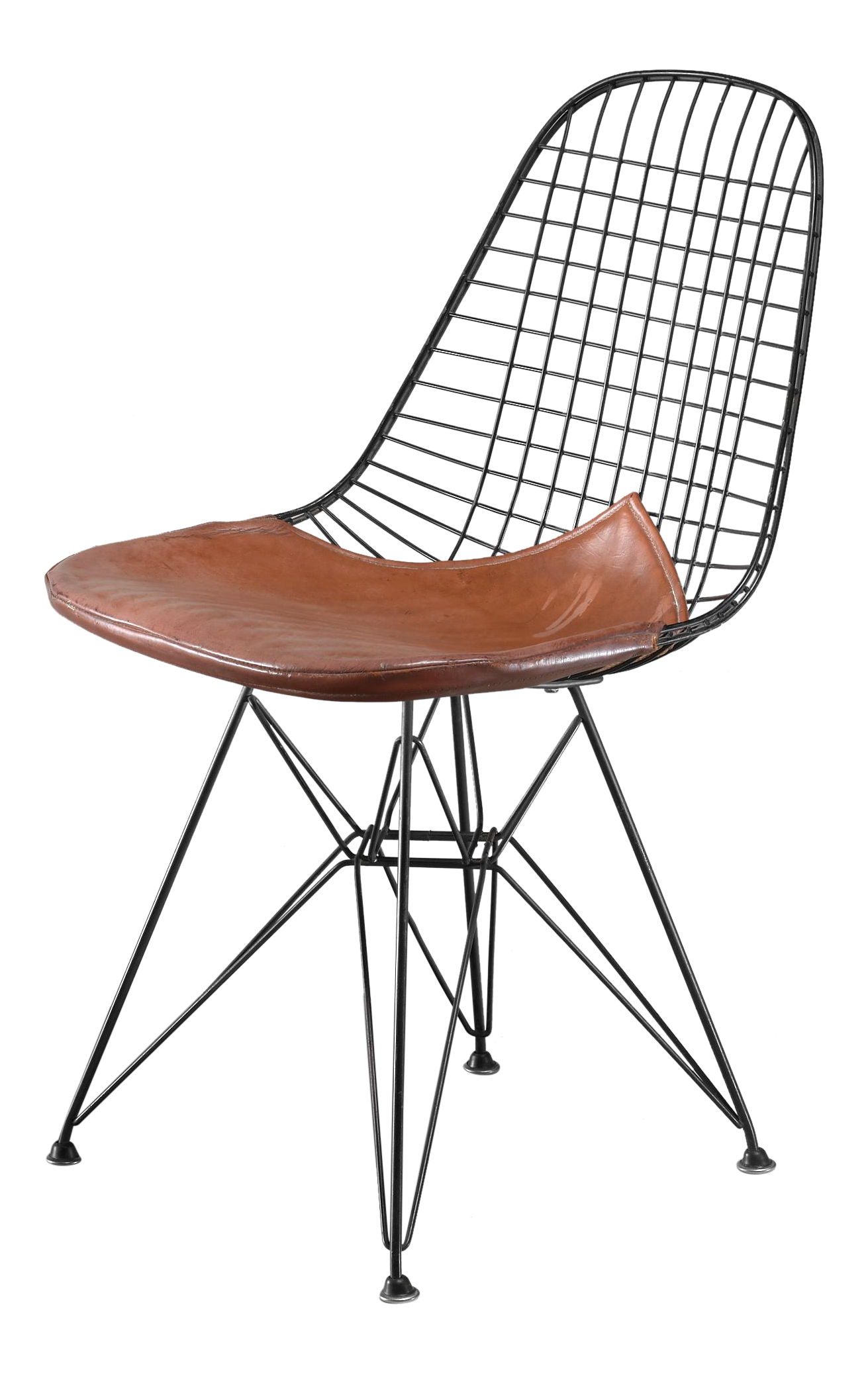 Distinguished Eames early DKR wire chair with leather seat on