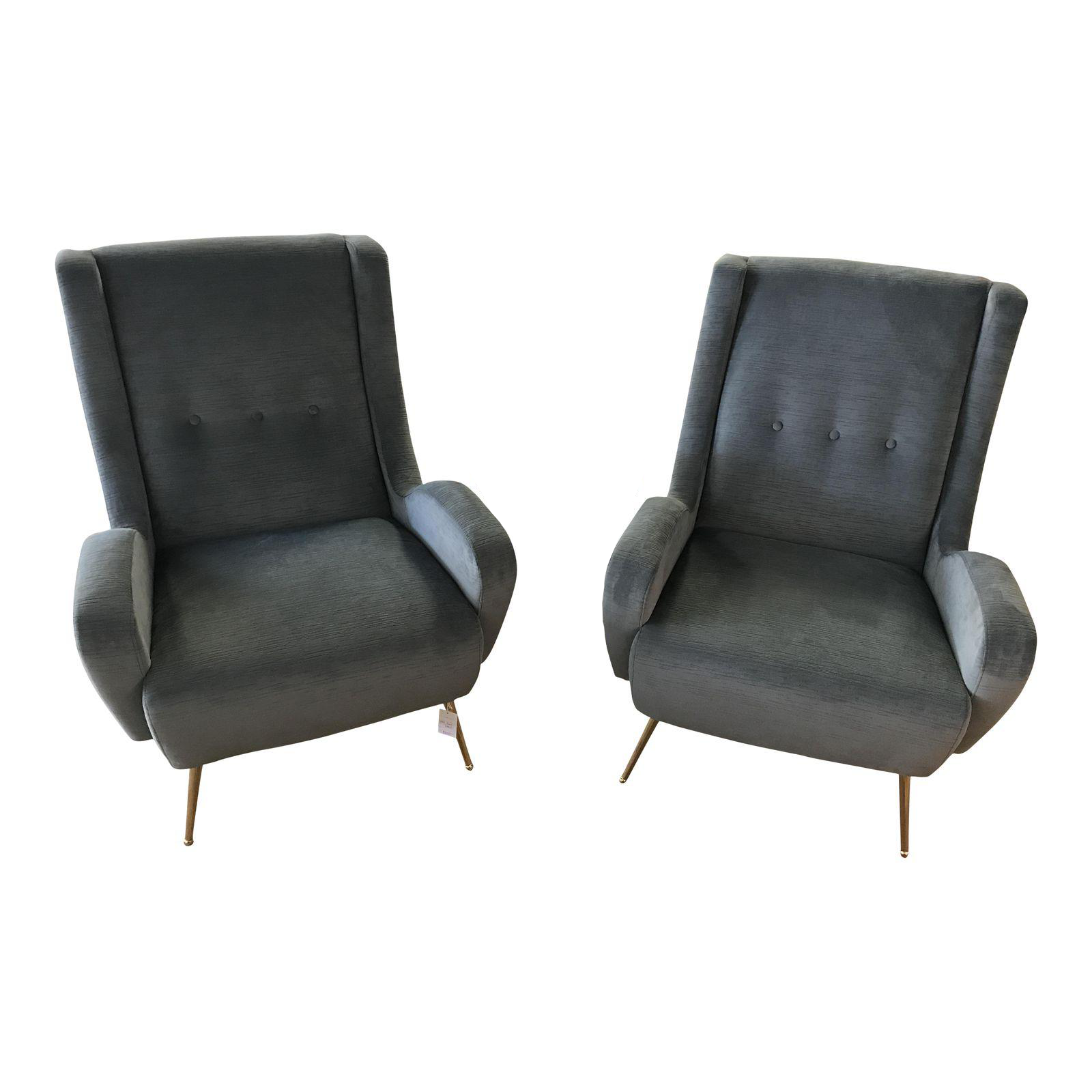 Modern Gray Club Chairs with Brass Stiletto Legs A Pair