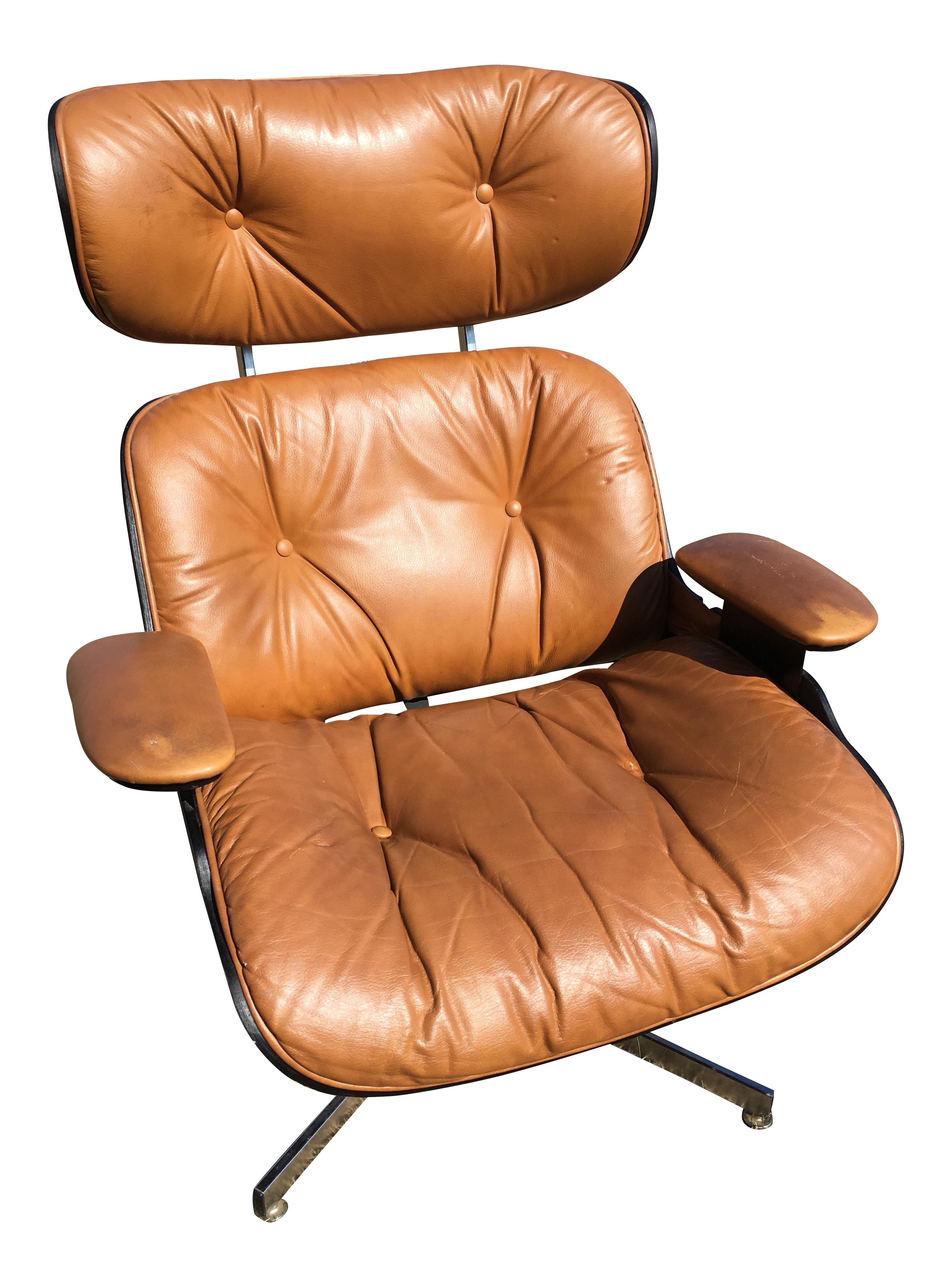 midcentury eames style brown leather plycraft lounge chair
