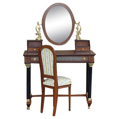 Empire Style Vanity Desk with Mirror & Chair