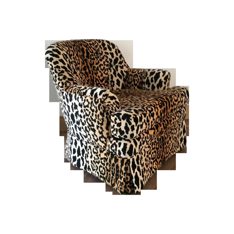 Mid Century Velvet Leopard Print Club Chair