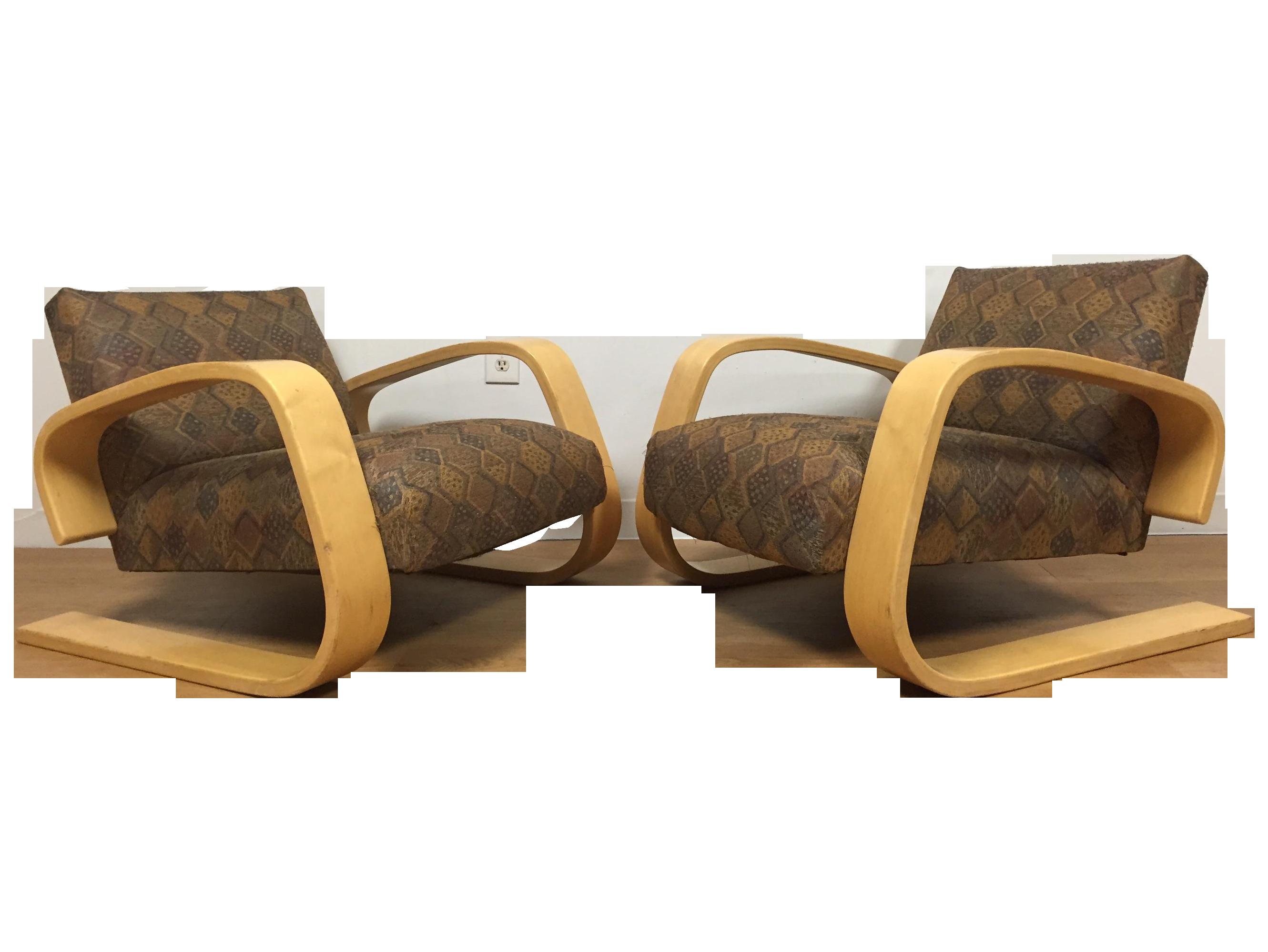 Alvar aalto for artek tank chairs a pair chairish for Chaise alvar aalto