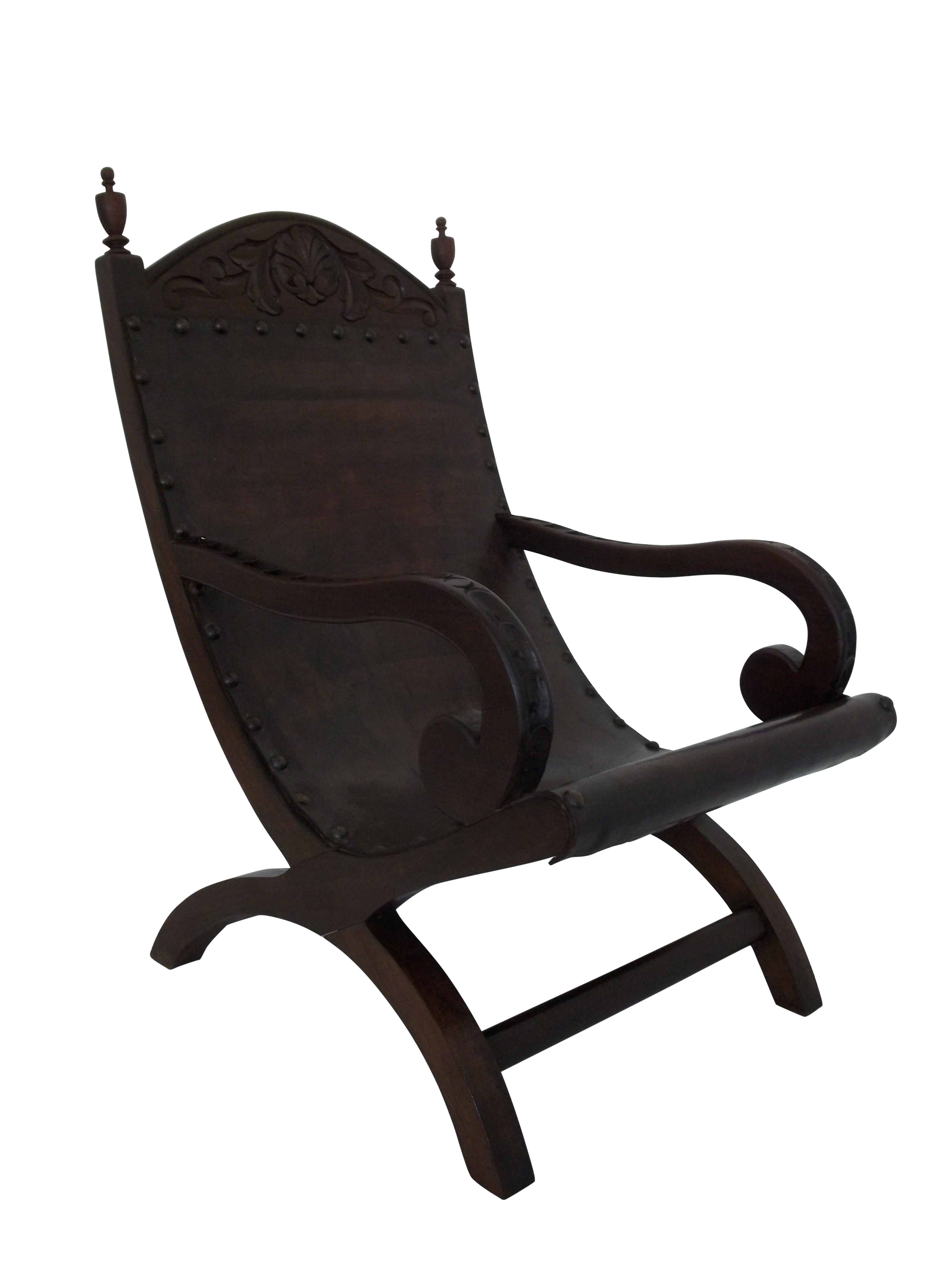 Butaque Leather Hand Crafted Sling Easy Chair Chairish